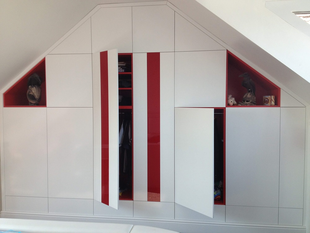 Red Glass and white wardrobe Open