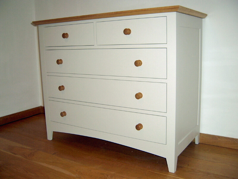 Oak and painted chest of drawers