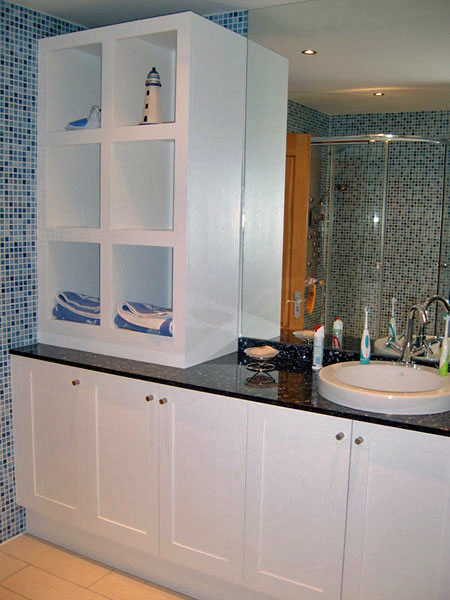 Painted Bathroom Cabinet and Shelving