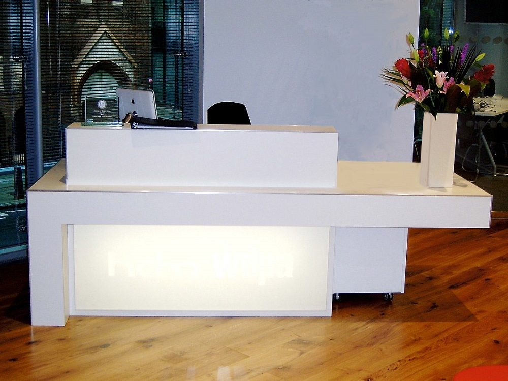 White Laminate Desk With Aluminium Trim and Perspex Lightbox