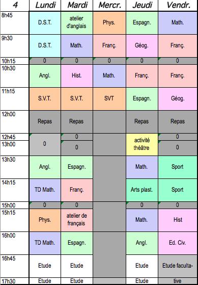 Emploi du temps type remis à l'élève (cliquer sur l'image pour afficher l'ensemble du planning)