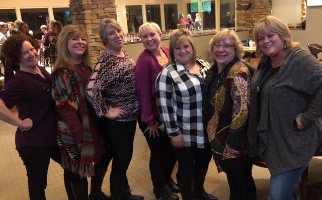The ladies of Chico Posse (from left to right) Debbie Adams, Holly Parker, Janae Dachele (recipient), Samantha Deal (recipient), Shelly Watson, Peggy Mead, Laurie Maloney (Sally Hayes missing)