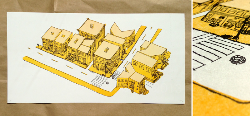 Hand-drawn illustration, Two layer photopolymer letterpress print Edition of 30 // MICA Dolphin House Sheet (Printed on a Vandercook 320G Press)