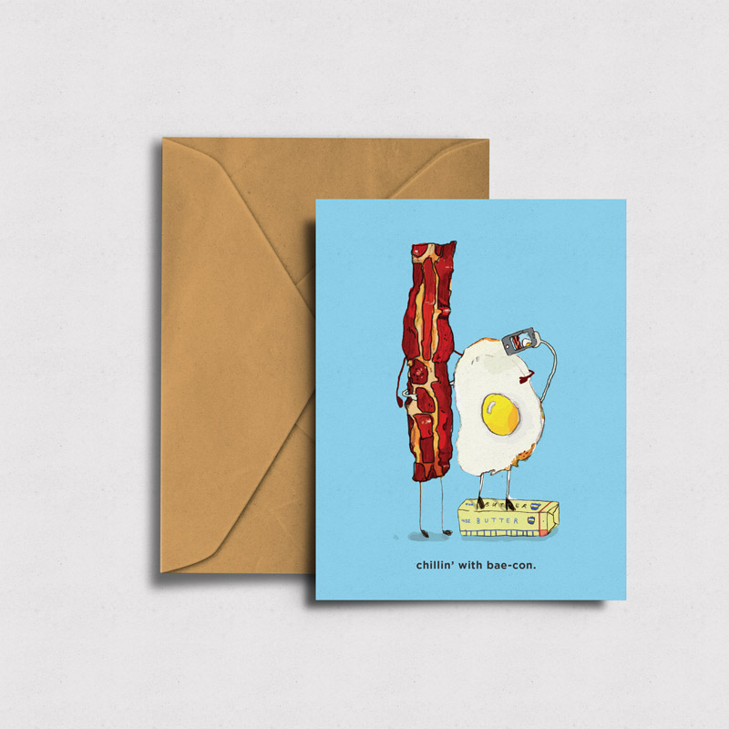 HOW ABOUT SOMEBREAKFAST IN BREAD? - Illustrated blank greeting card