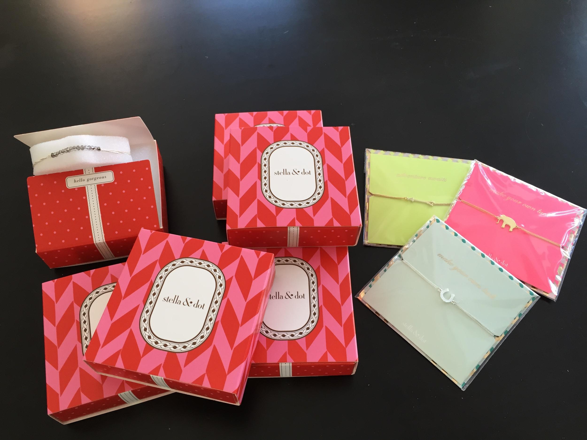 Four Light Bracelets, Radiance Coil, Color block Cluff-Citron, Wishing Bracelets - Elephant, Horseshoe and Arrow.