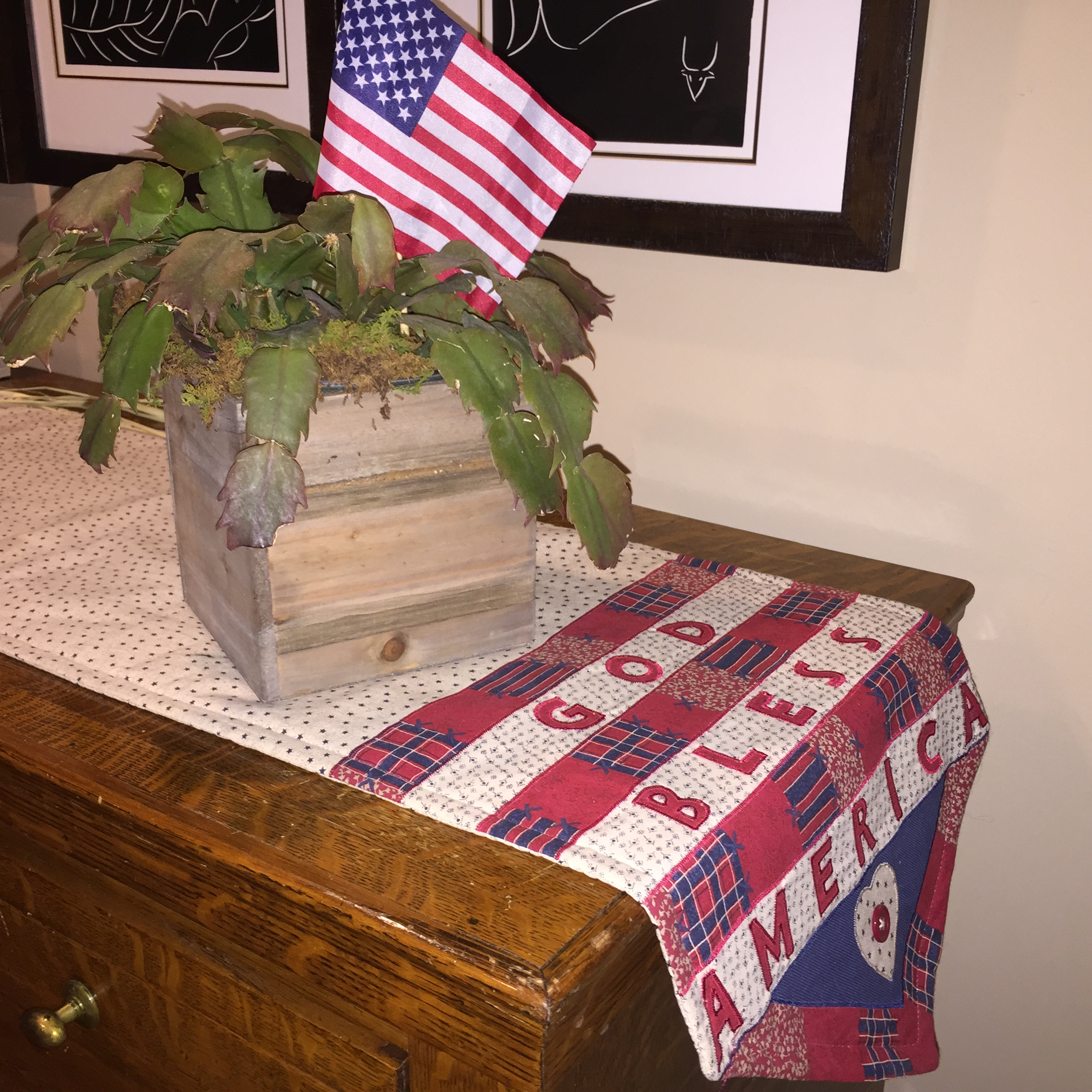 Last year's sale of flags weeks after the Fourth of July were .10 a piece!! Why would a flag ever need to be discounted? Of course I bought a ton! The runner was $1 at Dollar Tree bought almost 10 years ago.