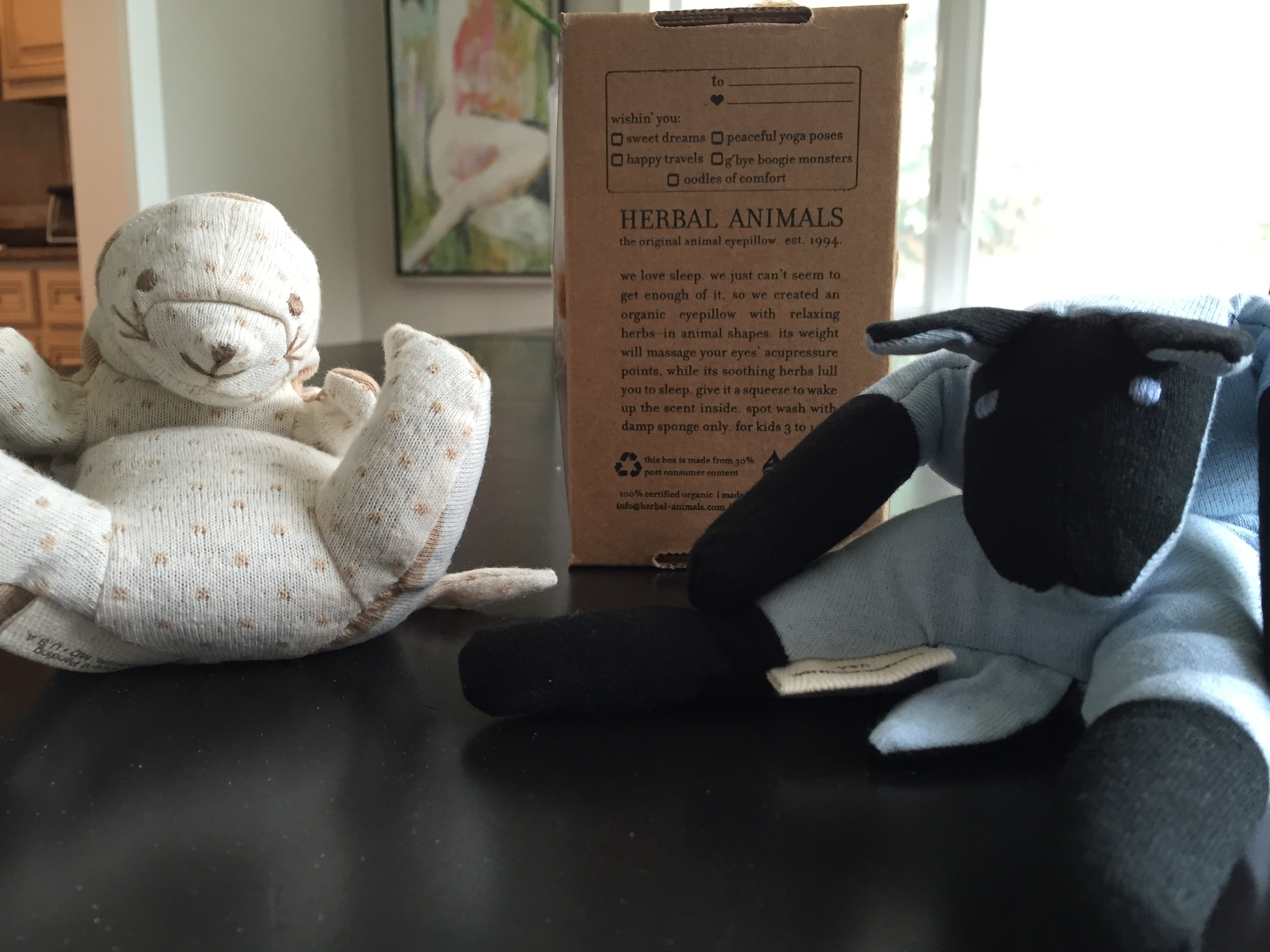 I'm sending these two eye pillows made with lavender to my niece and nephew. I purchased the last of the eye pillows from Love Crate but you can check www.herbal-animals.com for more. Herbal eye masks help my kids calm down for bed and block out the light for a quicker drift off. They make great Back To School  pinches.