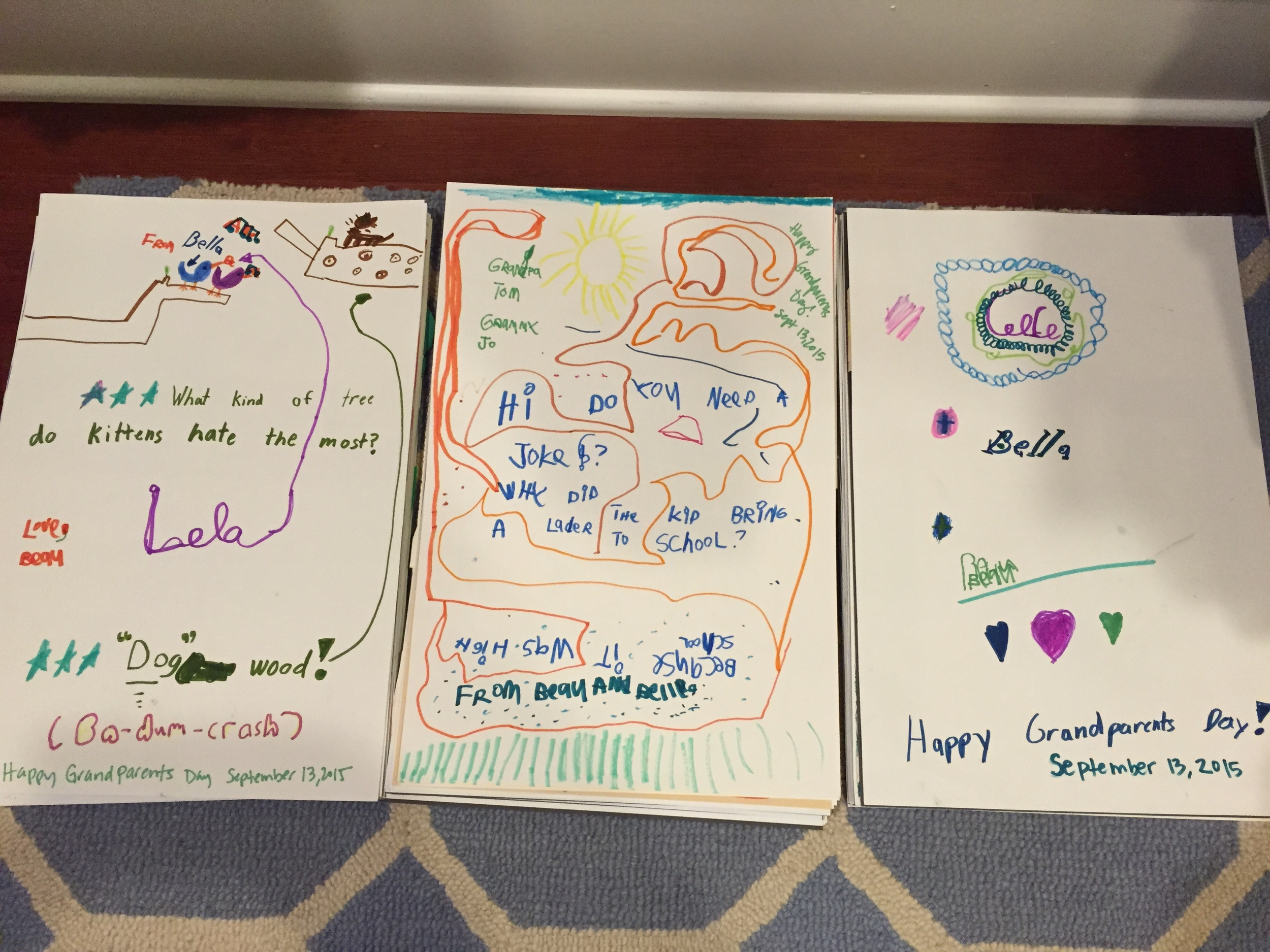"""The final products - One for Lola with a joke and a """"Ba-dum-crash"""" after the punchline is delivered. One for Grandpa Tom & Grammy Jo, also with a joke but the punchline is revealed upside down. And one for CeCe with colors and esthetics solely based on the names on the markers."""