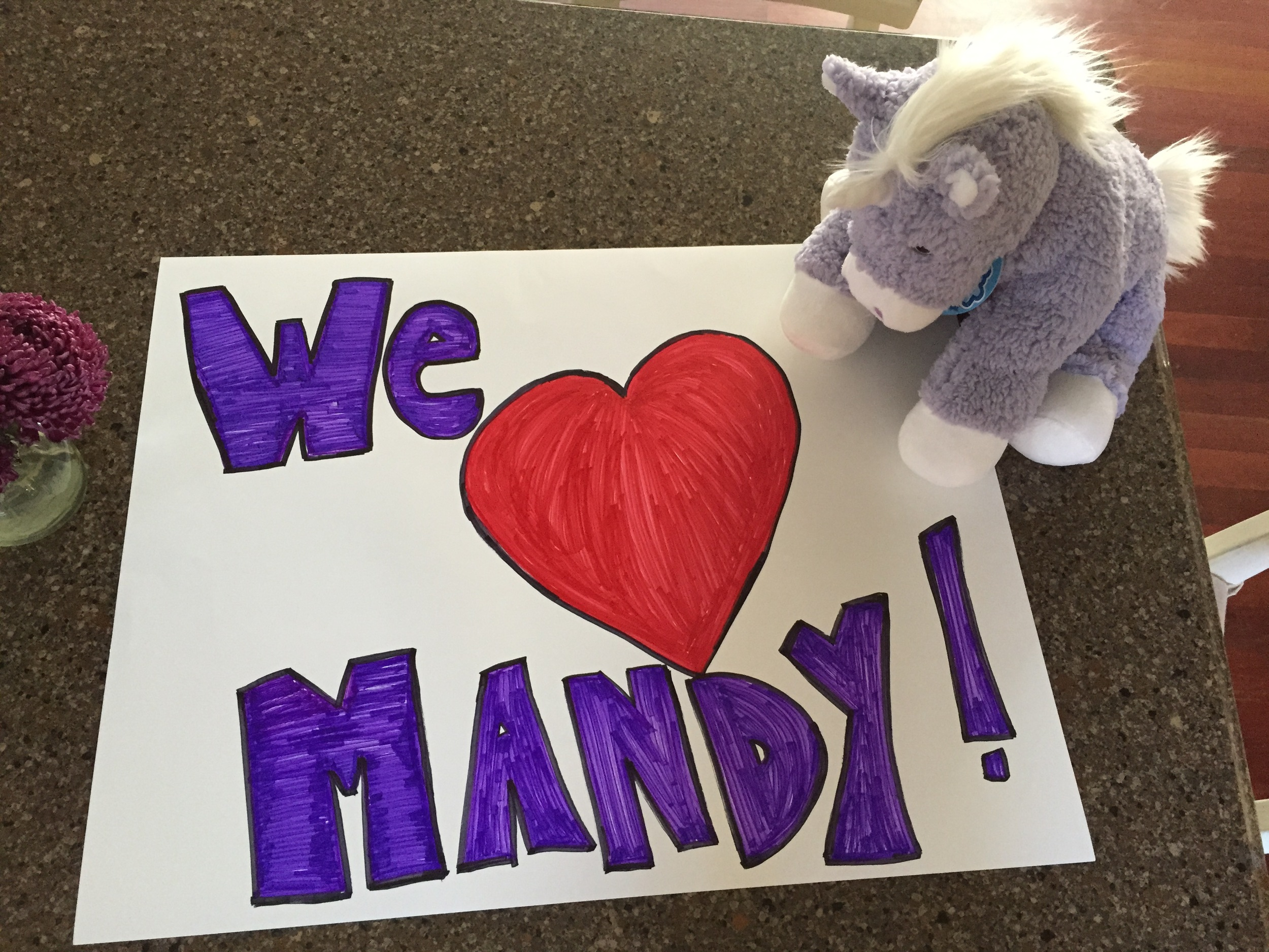We brought a poster board and a super soft stuffed unicorn to the hospice home. Plus, A little birdie told me that Mandy liked hot fudge sundaes so we brought her one for dessert.