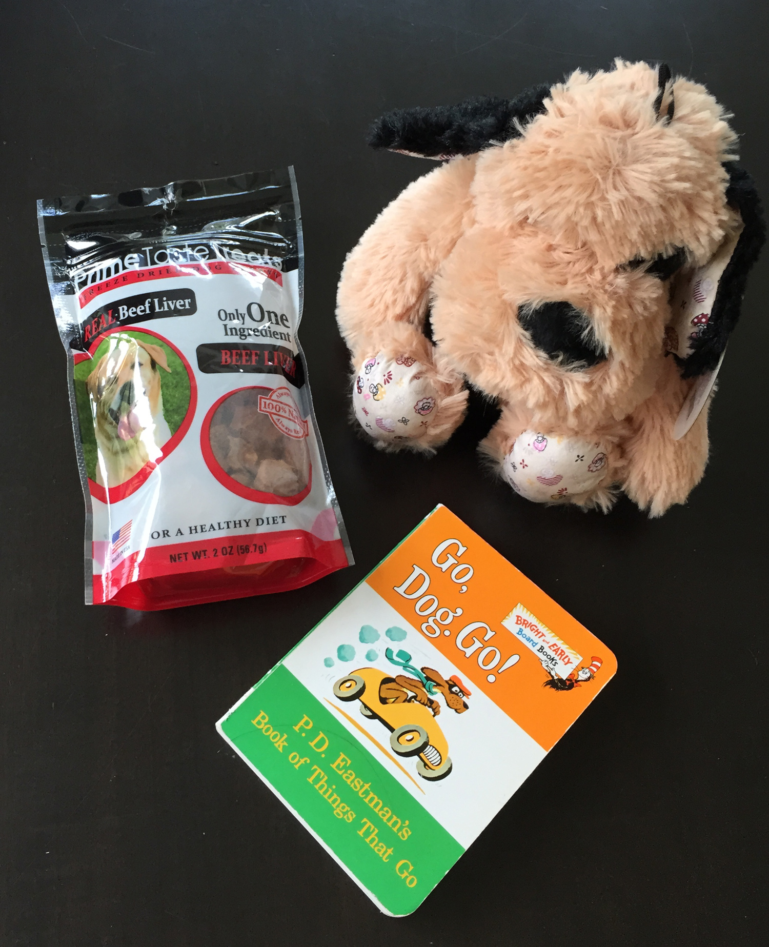 I could not resist the dog treats ($3.99) and stuffed animal ($4.99) from Home Goods. And this version of  Go, Dog. Go!  is half the size of the original version but it still ends with a huge dog party!