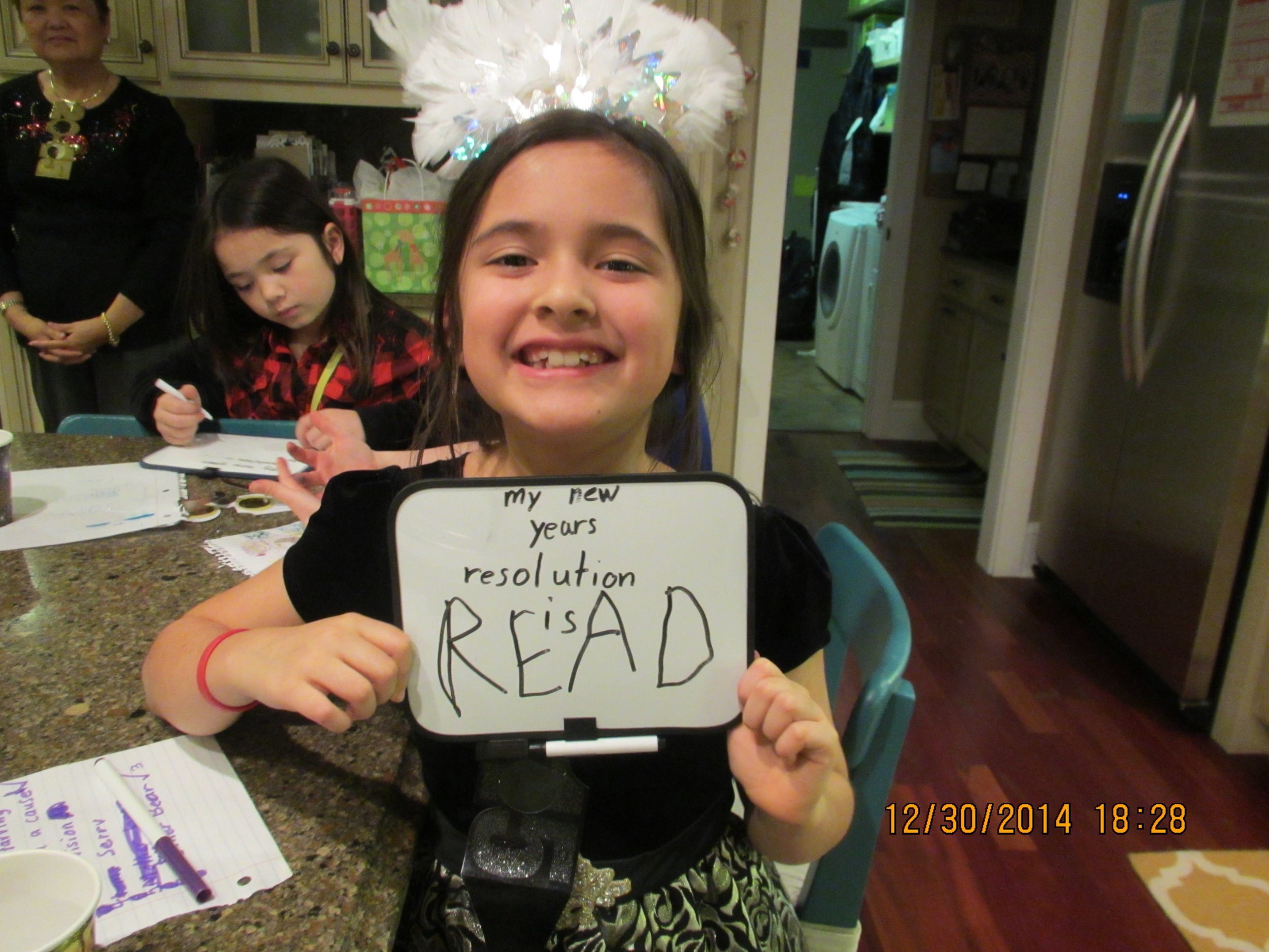 Like mother, like daughter, she can't pick just one resolution so she picks three. But this one is funny because she already reads non-stop!