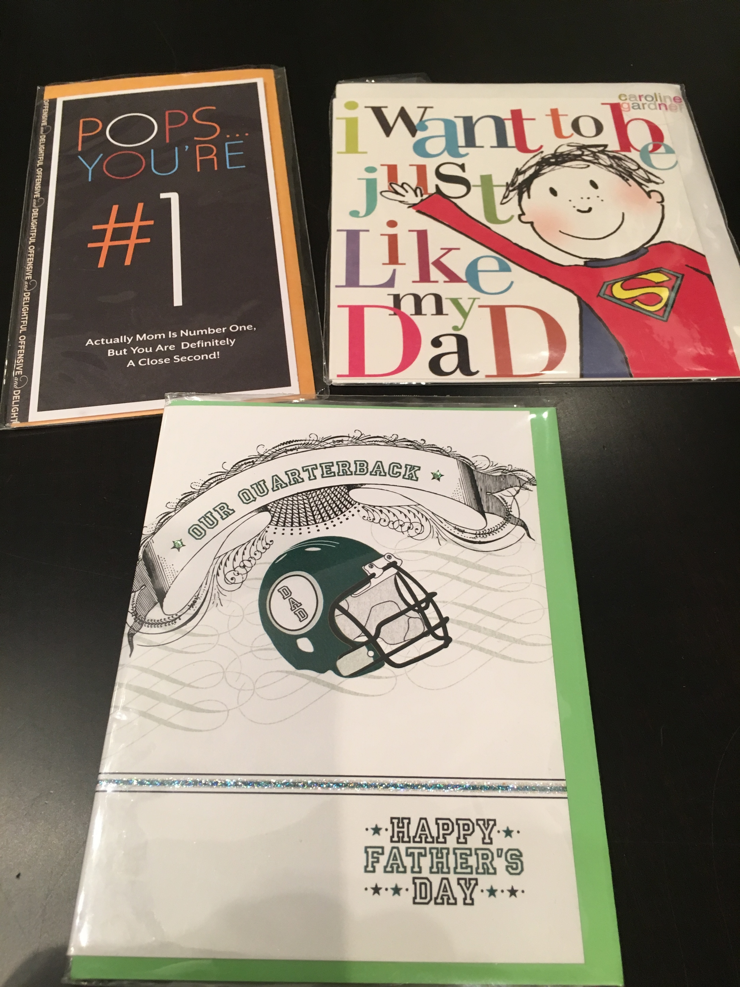 My son calls my hub Pops. My daughter writes stories about super heroes and he's my QB. Great prices for these cards.