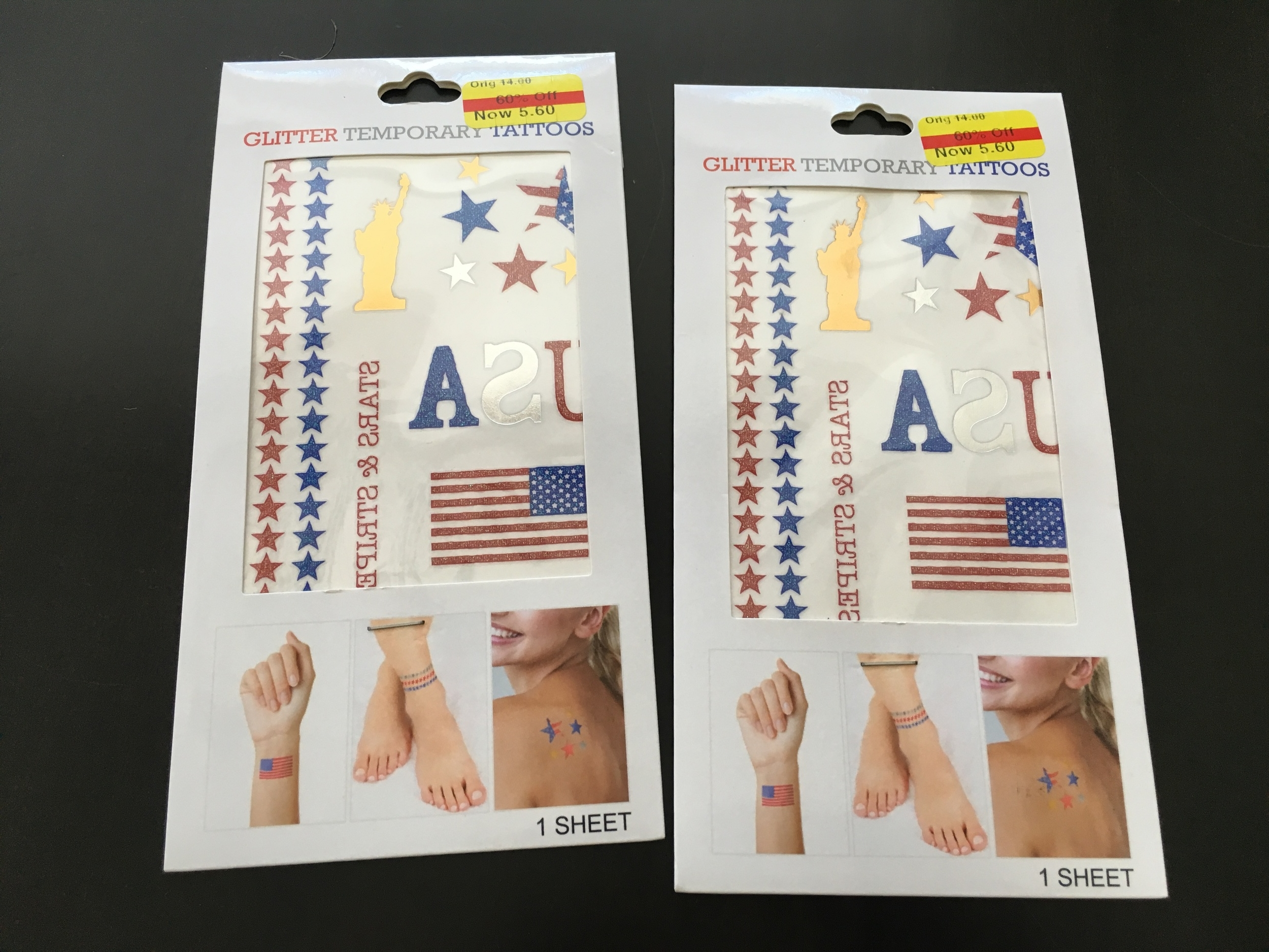 Glittery tats found at Kohl's for even cheaper than $5.60 each because there was a sale on top of the already discounted items. Score!