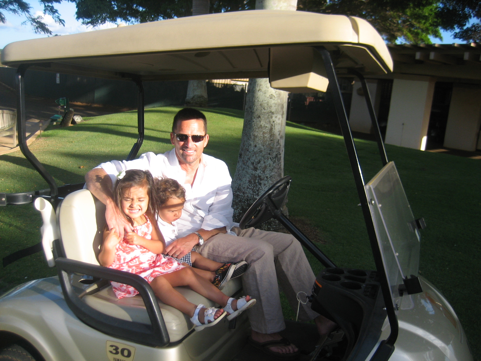 Instagram Message: Look at these cuties in a golf cart back in Jul 2010. Golf Dimples.  Facebook Message: Everyone is posting pictures of the First Day of School and here I am posting this golf cart picture taken in Jul 2010. Golf Dimples.