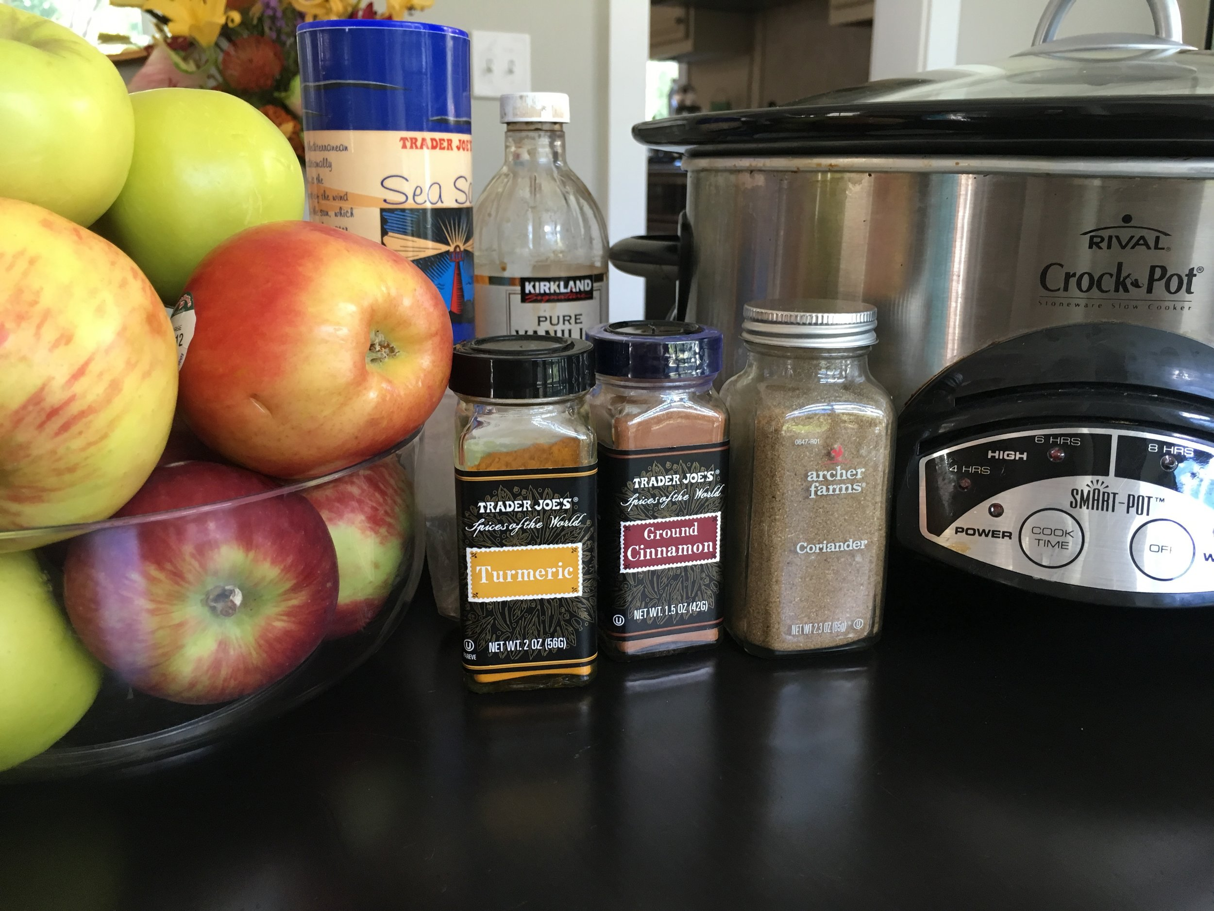 I get my fruit from a  CSA  (Community Supported Agriculture) and I always grab a newsletter when I pick up the fruit because it's filled with amazing tips, information and recipes. This recipe is borrowed from  EatingWell.com . Originally published in the September/October 2015 issue of Eating Well Magazine. I used McIntosh, Washington Xtra-fancy Ginger Gold and Granny Smith apples because that's what I had in my fridge. I think you could substitute coconut sugar for the brown sugar. We used brown sugar even though it was not in the photo. Whoops!
