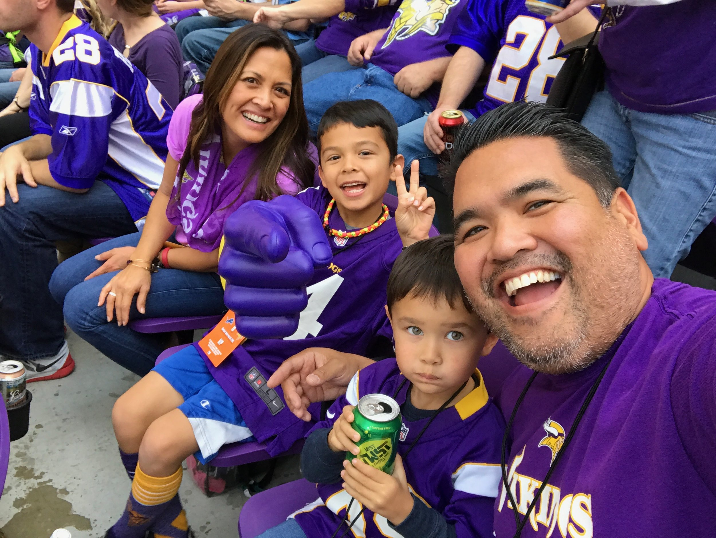 Instagram Message: My brother and I with our sons and a whole lot of purple. Consider this a head's up: Monday 4/10 is Sibling Day. Check the blog.