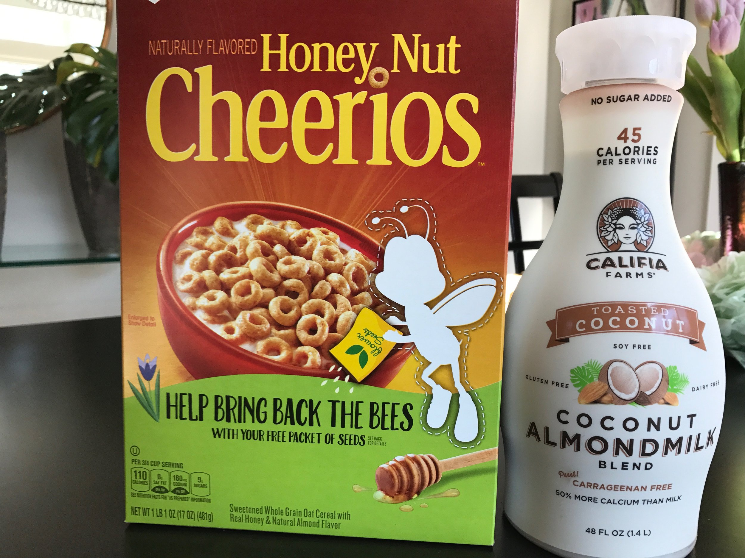 Lately my breakfast routine has been 2 bowls of either coconut milk and Kellogg's Rice Krispies or Honey Nut Cheerios and coconut/almond milk blend.  Yum!