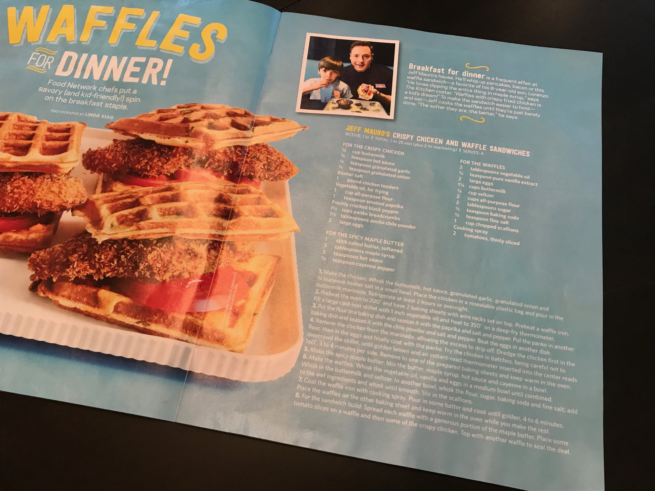 The September 2017 issue of Food Network Magazine came with an insert F.N.M.  Family  which had recipes for some savory waffle recipes. Besides the one above, Haylie Duff's Ham & Cheese Waffles and Kelsey Nixon's Cornbread-Cheddar Waffles with Scrambled Eggs are in the issue.