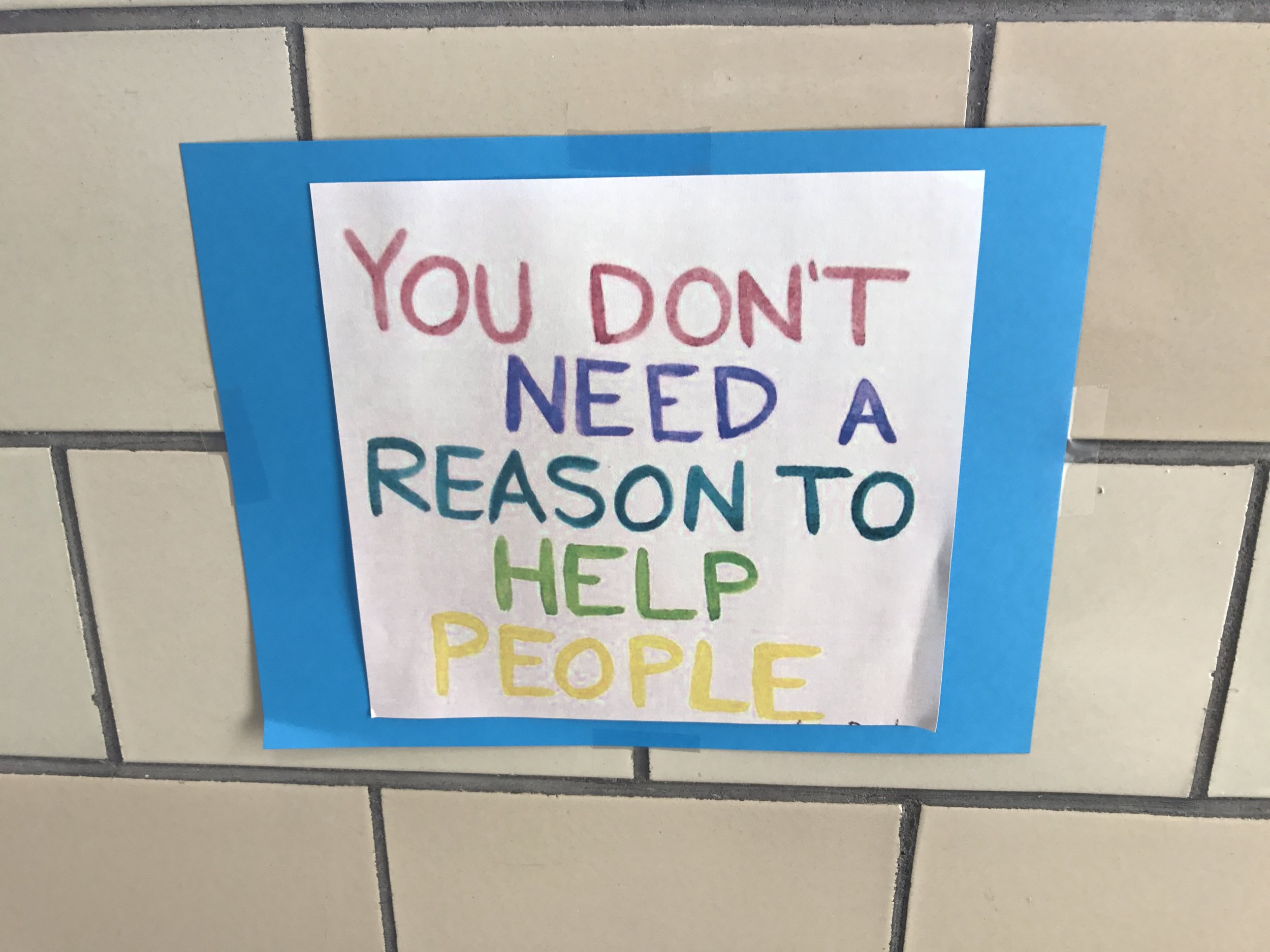 I saw this today hanging on the wall at the kids' school. I loved it. Maybe we can continue to help people even without a natural disaster.