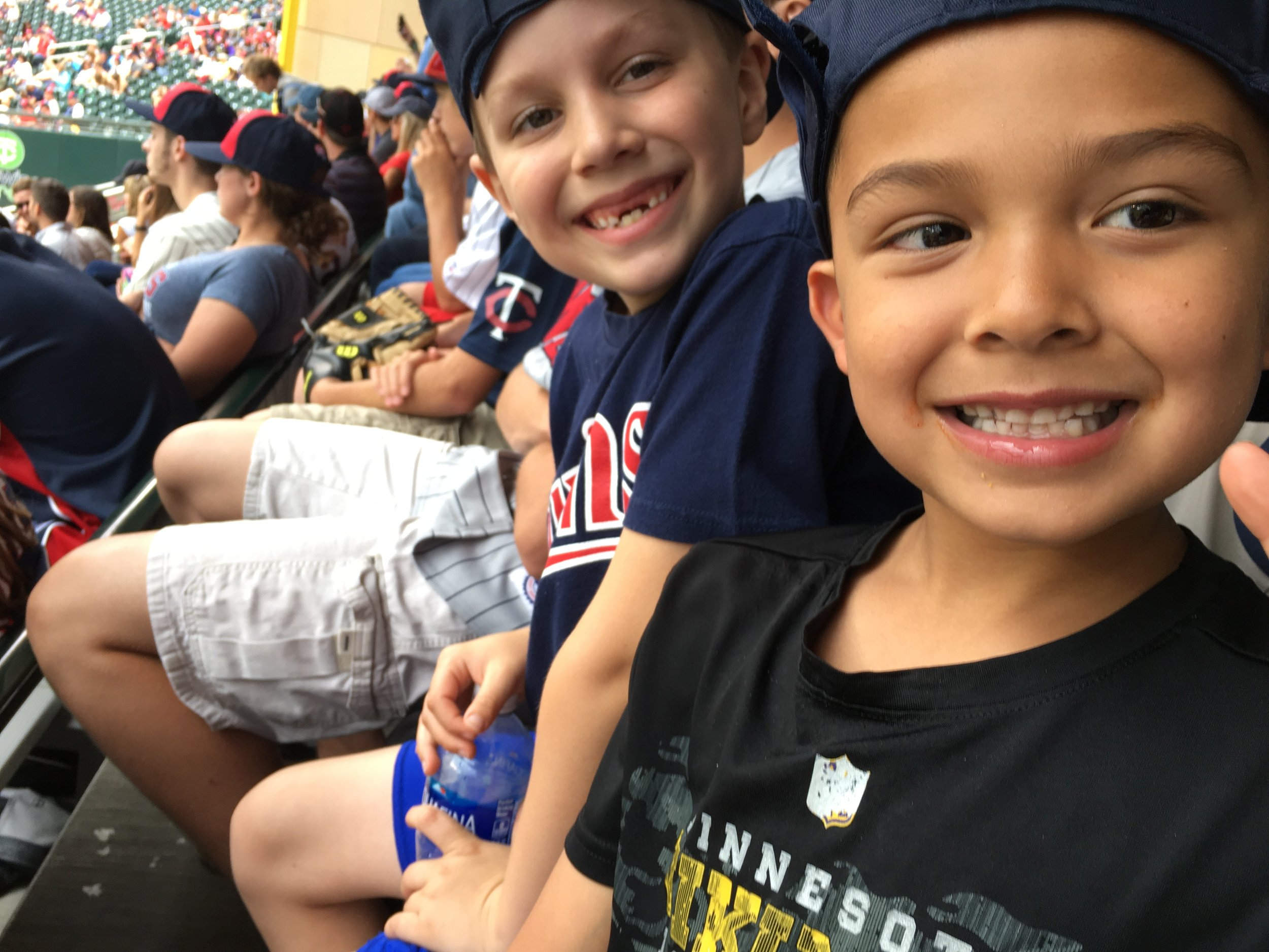 Bennett has Beau over to his house a lot too so my hub took him to the Twins game and they all had a great time.