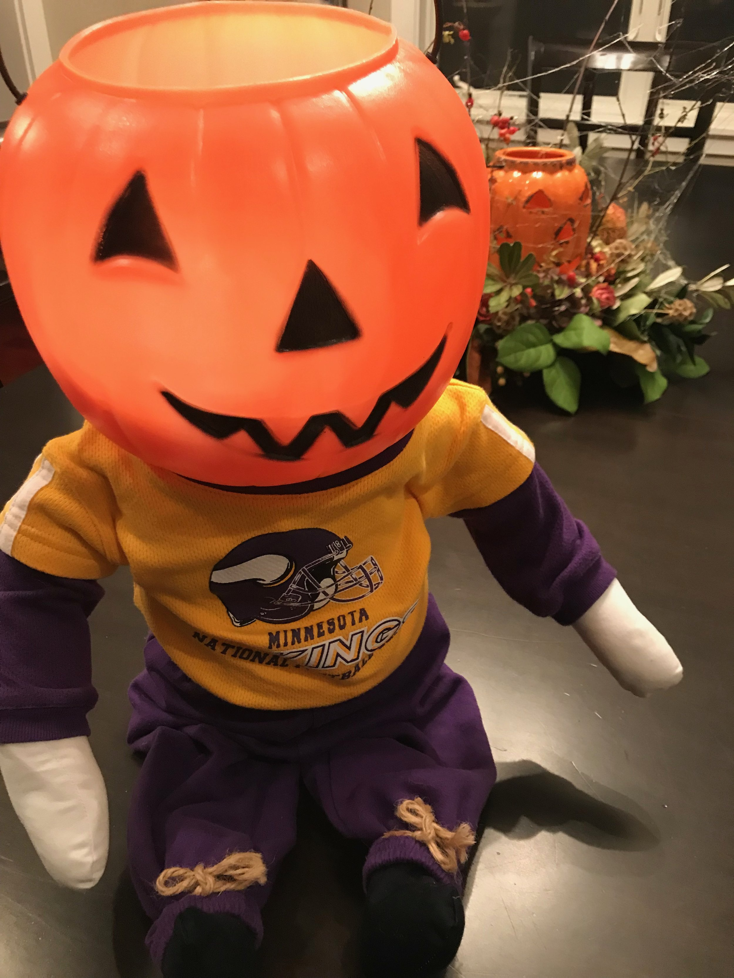 This guy was a gift from our good friends Karen and Dom (shhh! they're Packer fans). He holds the vampire teeth we are giving to those who have food allergies.