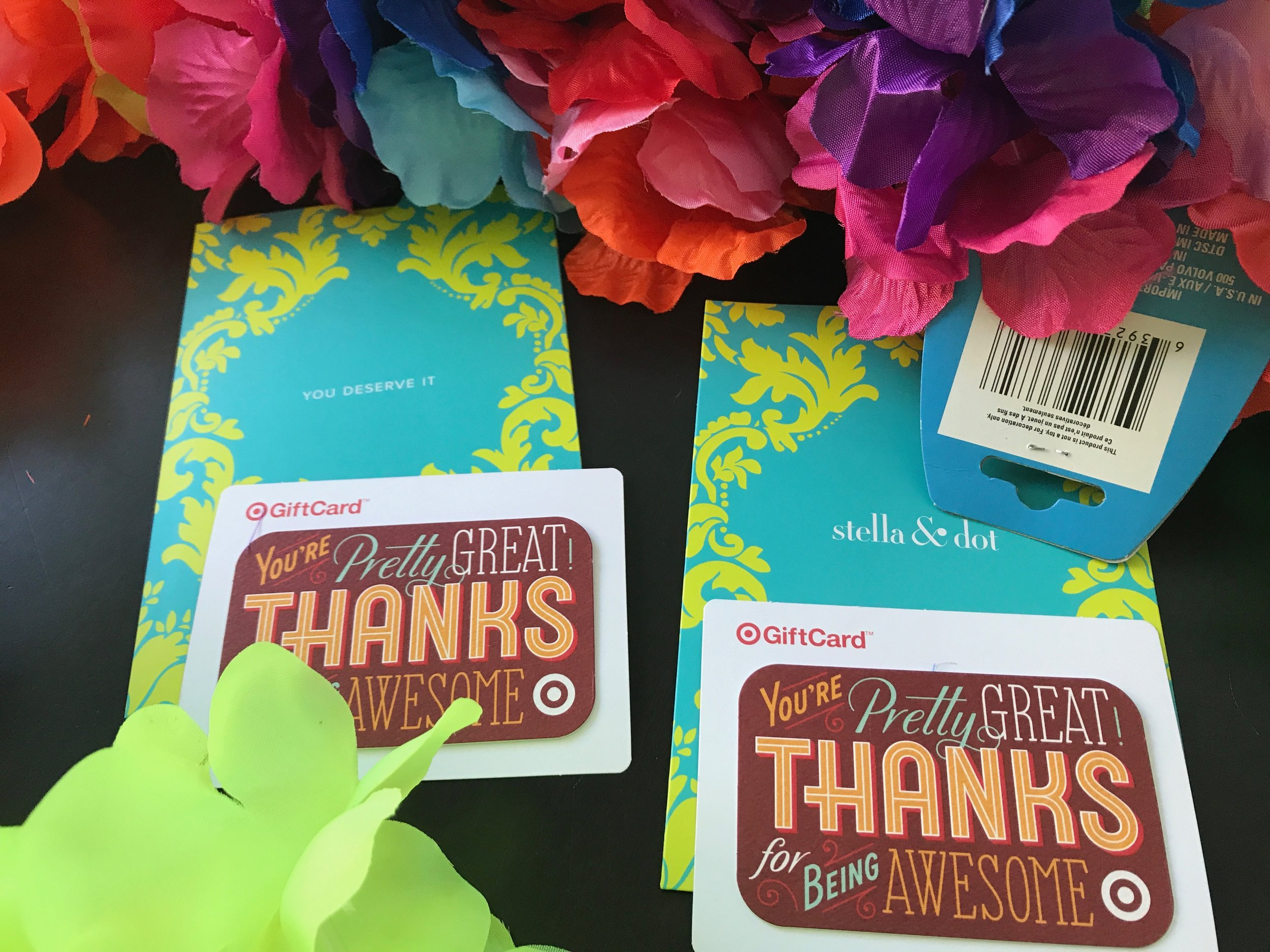 Instead of cash, we attached gift cards onto the leis.