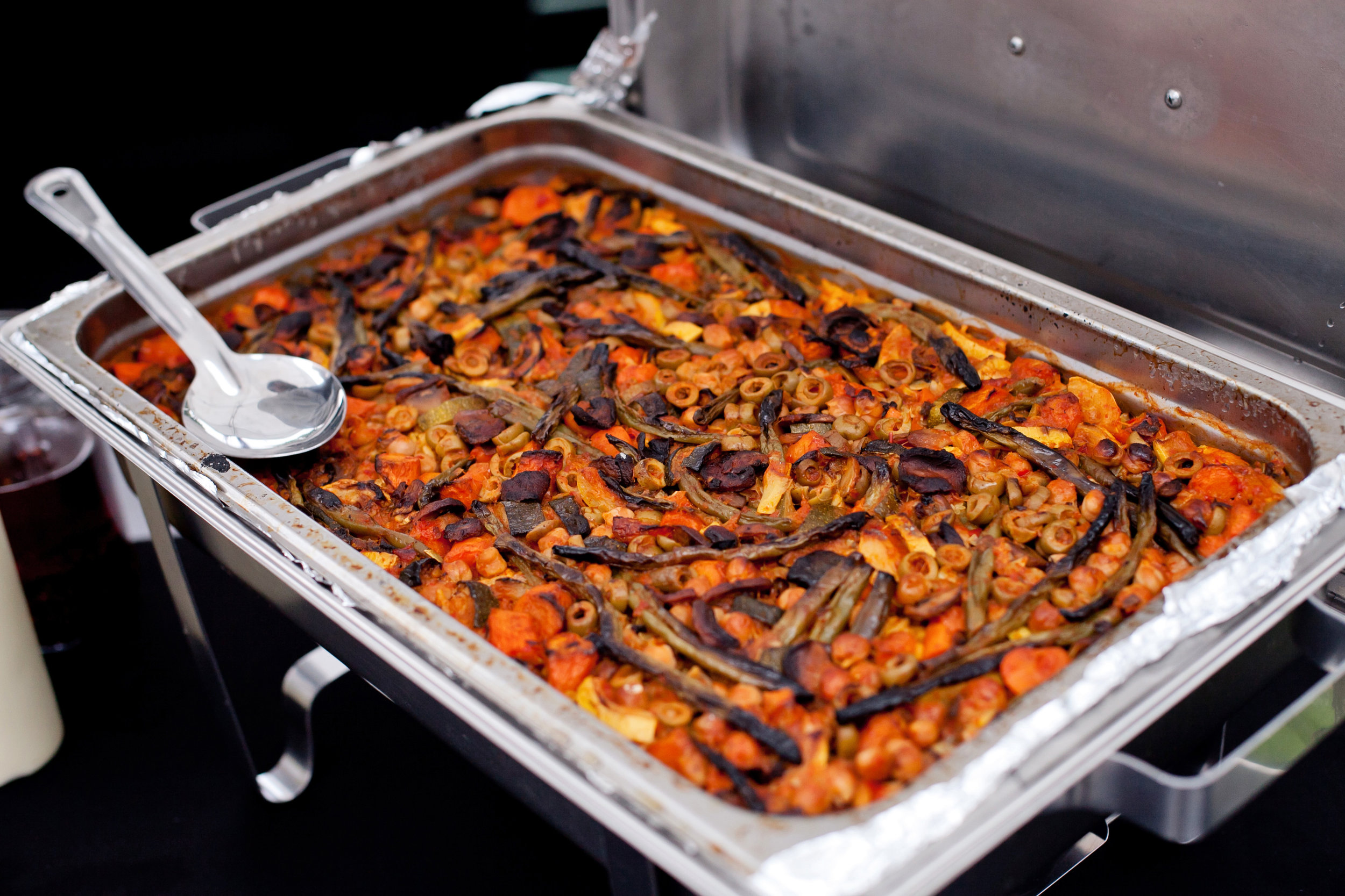 Here is the veggie paella version made off-site to prevent cross contamination for those with seafood allergies. Photo credit: Bethany Meister: Photographer