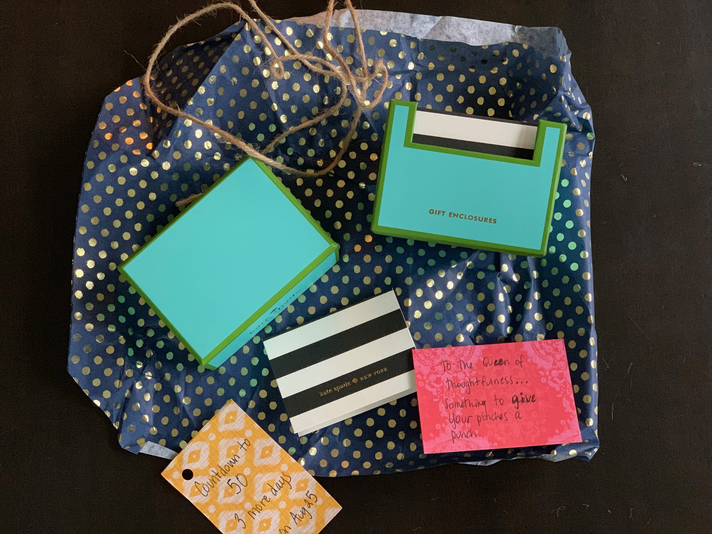 """Gift #5 - I can't get enough Kate Spade. These gift tags are way too  thoughtful ! She is right about them being a """"punch"""" for my  pinches ."""