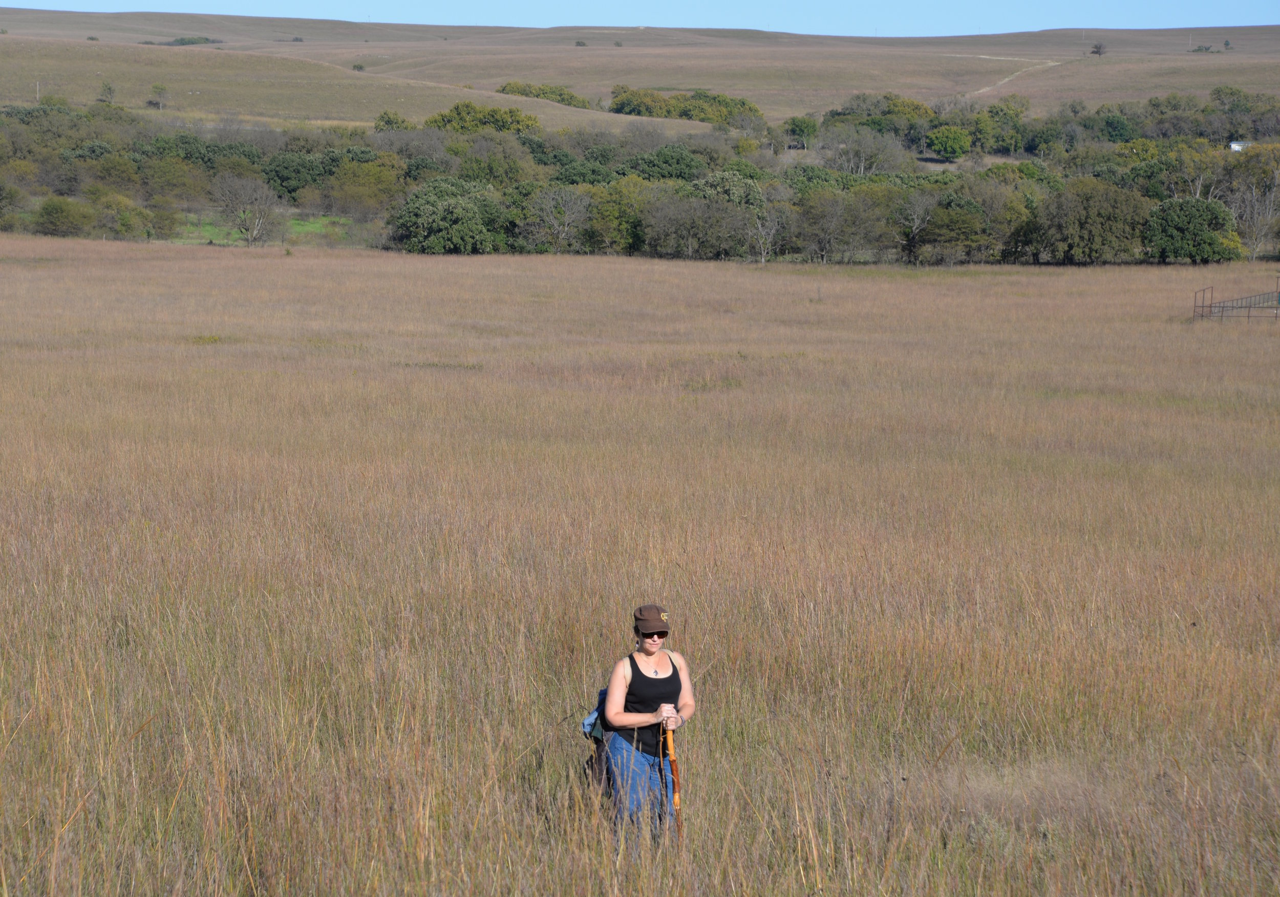 Hiking across the   Tallgrass Prairie National Preserve   in Chase County, Kansas.