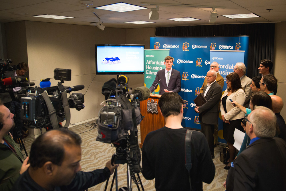 Mayor Don Iveson at the Press Conference