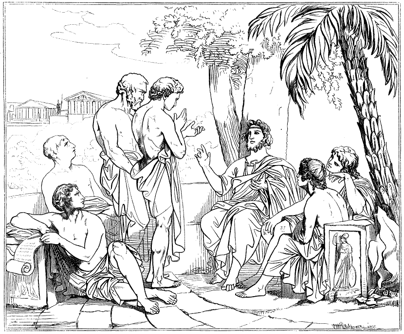 Plato_i_sin_akademi,_av_Carl_Johan_Wahlbom_(ur_Svenska_Familj-Journalen)