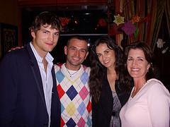 Demi Moore @ Ashton Kutcher, and Kelly Steckelberg(CFO of ZOOSK) having dinner @ Allegro Romano