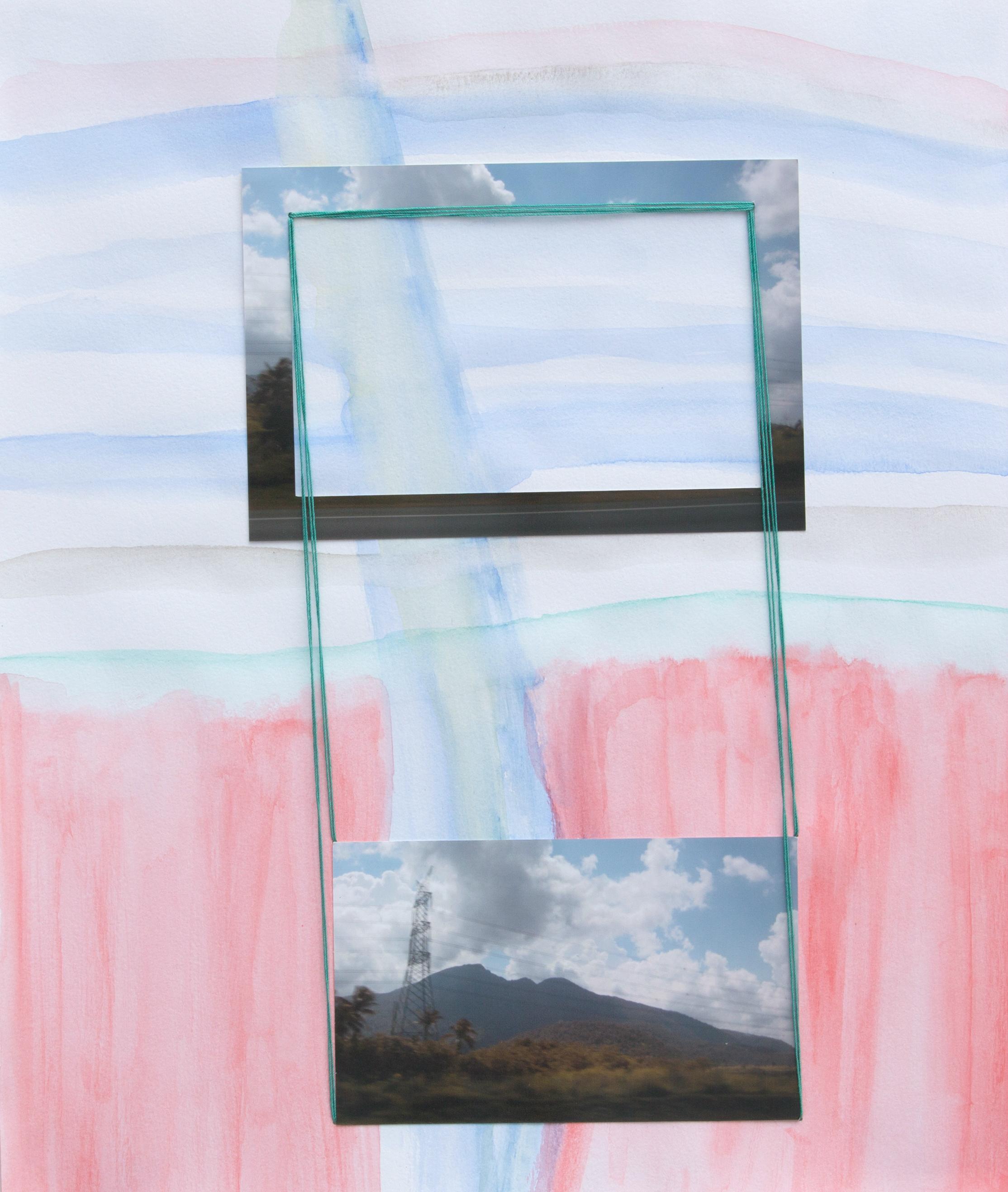 paper 14 ,2014  gouache, photograph, thread  13 x 11 inches