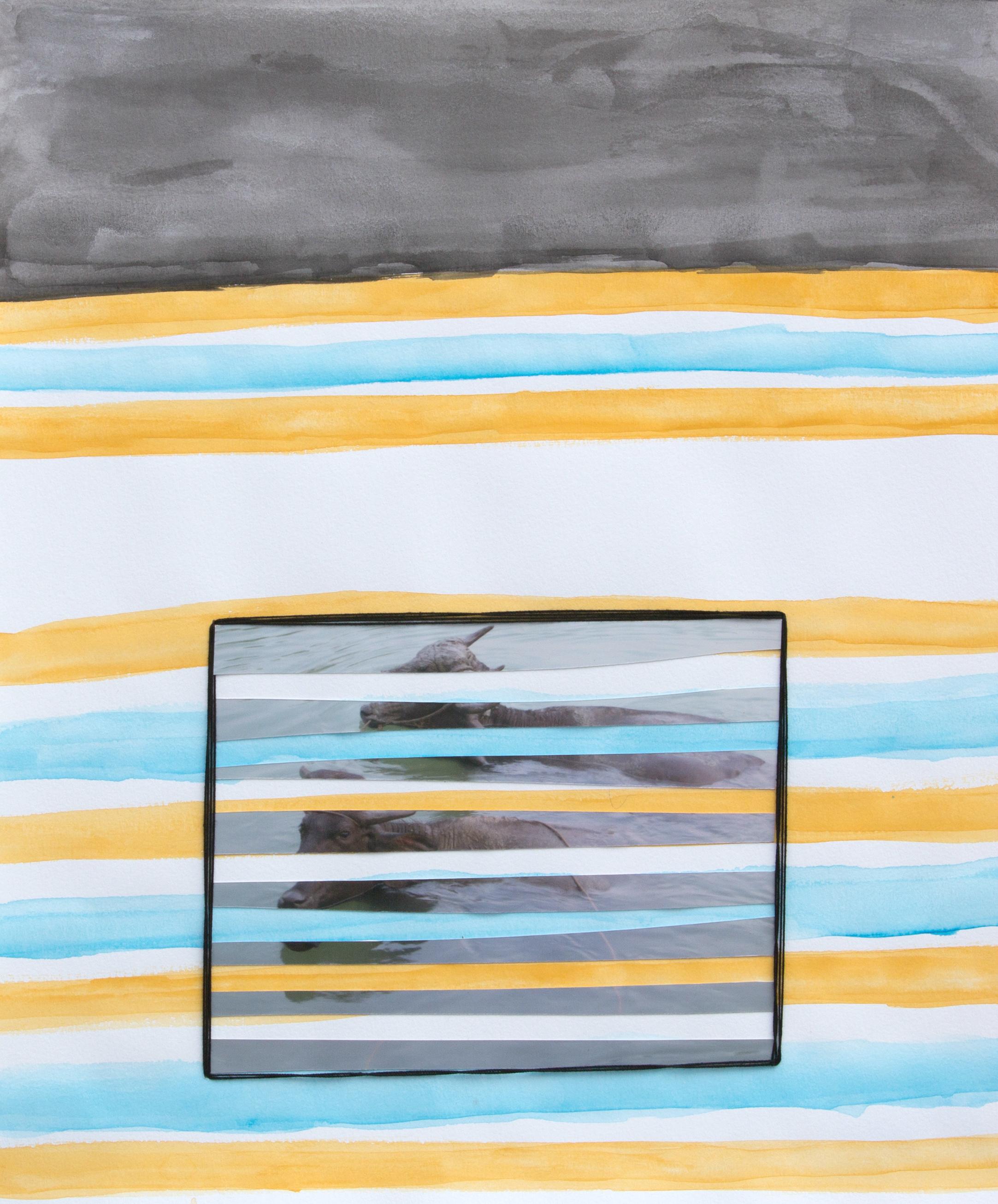 paper 13 ,2014  gouache, photograph, thread  12.75 x 10.5 inches