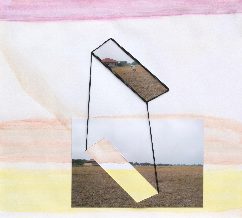 paper 12 ,2014  gouache, photograph, thread  10 x 11 inches
