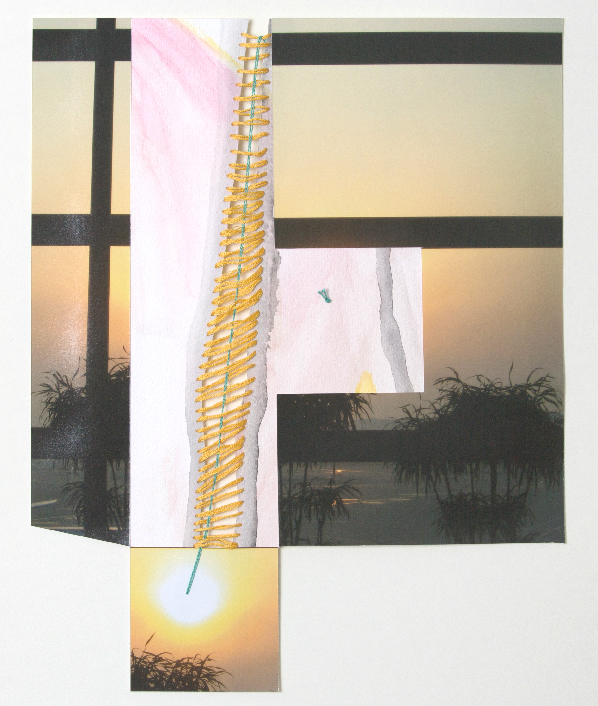 paper 16 ,2014  photograph, thread, paper  12 x 14 inches