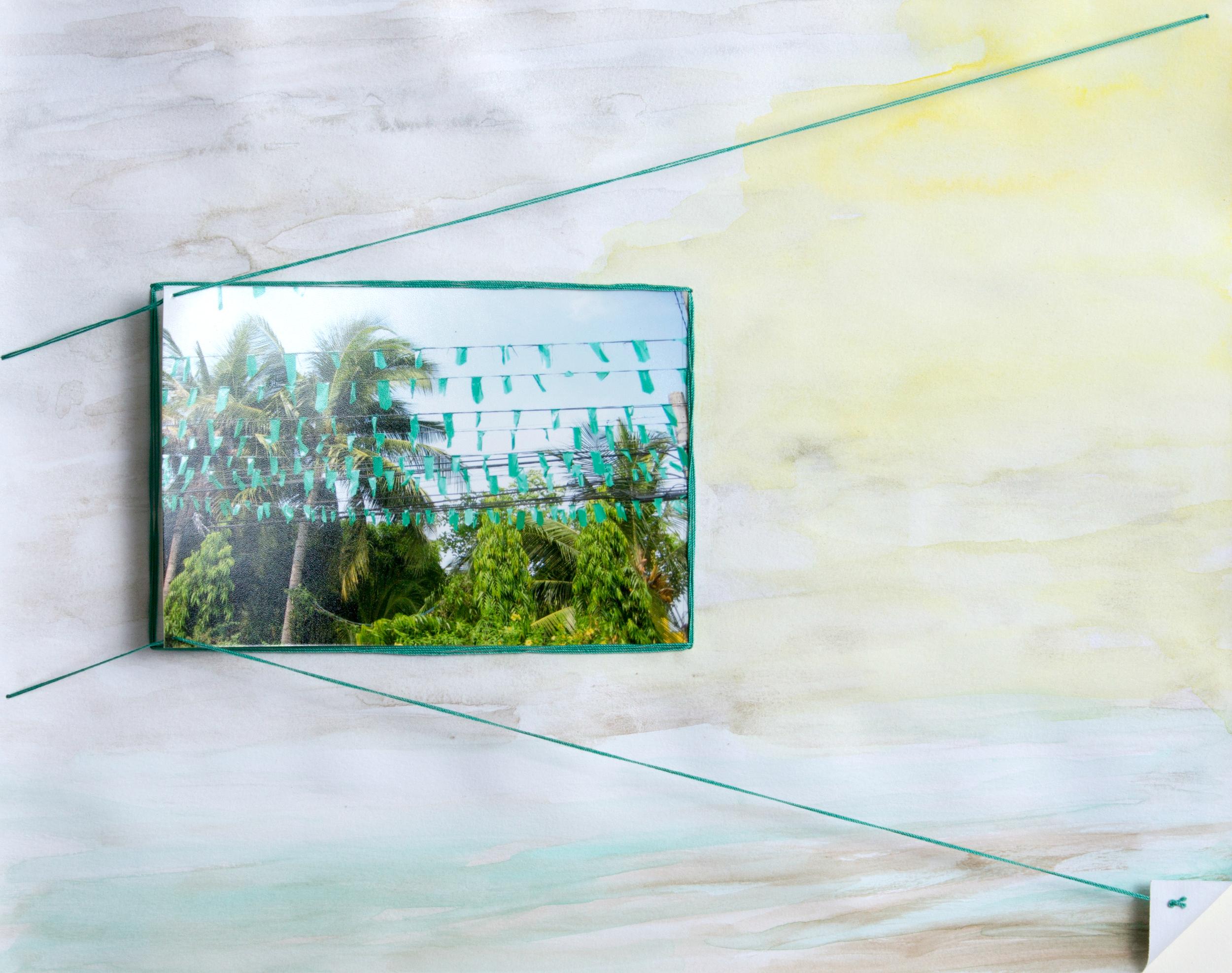 paper 11 ,2014  gouache, photograph, thread  11 x 14 inches