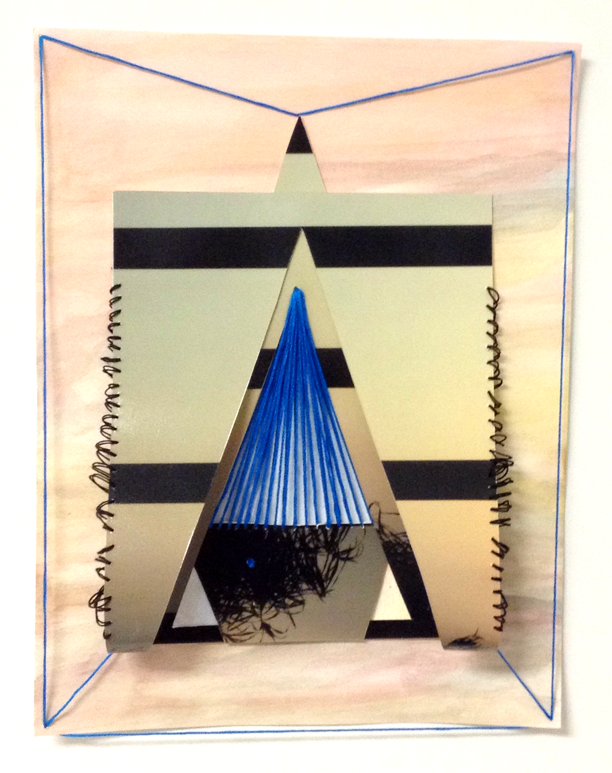 paper 18 (under which reality?), 2014  gouache, photograph, threadon paper  11 x 8.5 inches