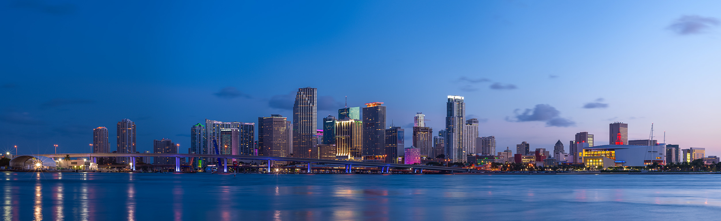 The Miami Skyline, this time from underneath MacArthur Causeway (the infamous one with the face eating crazy man).