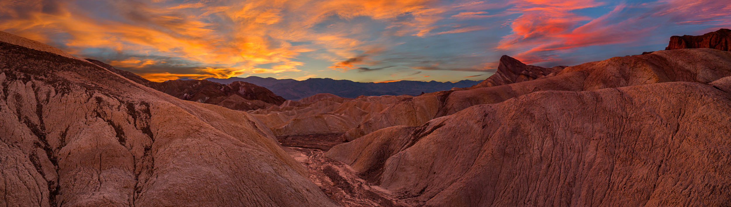 The much photographed Zabriskie Point, in Death Valley, California.