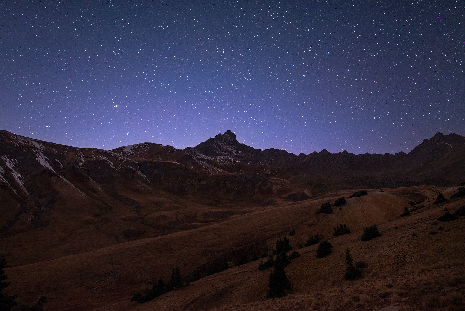 Wetterhorn Peak, at the dead of night.