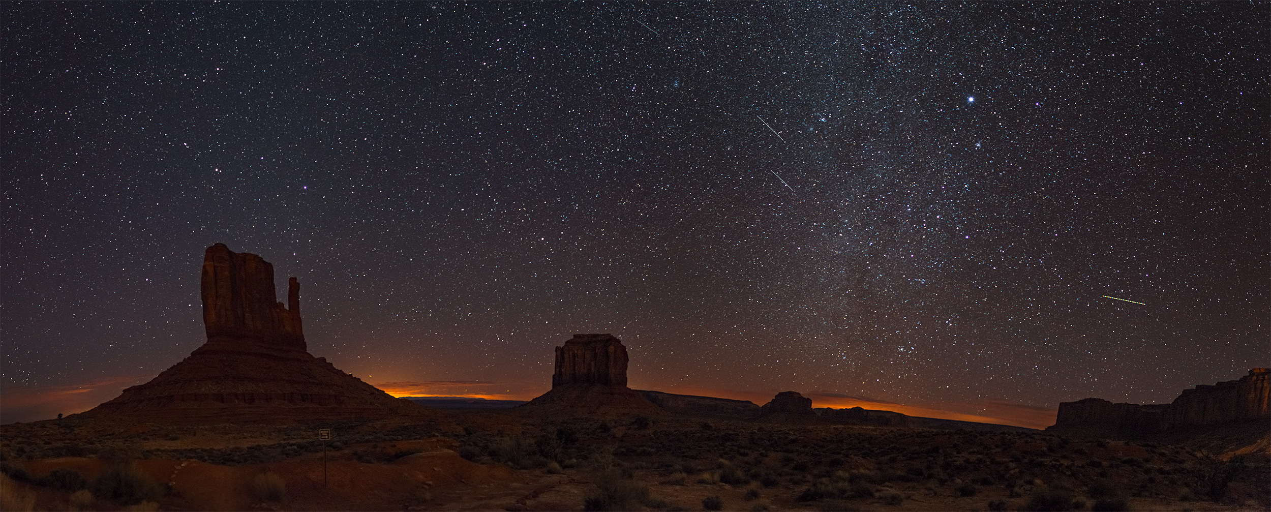 The winter Milky Way at Monument Valley.