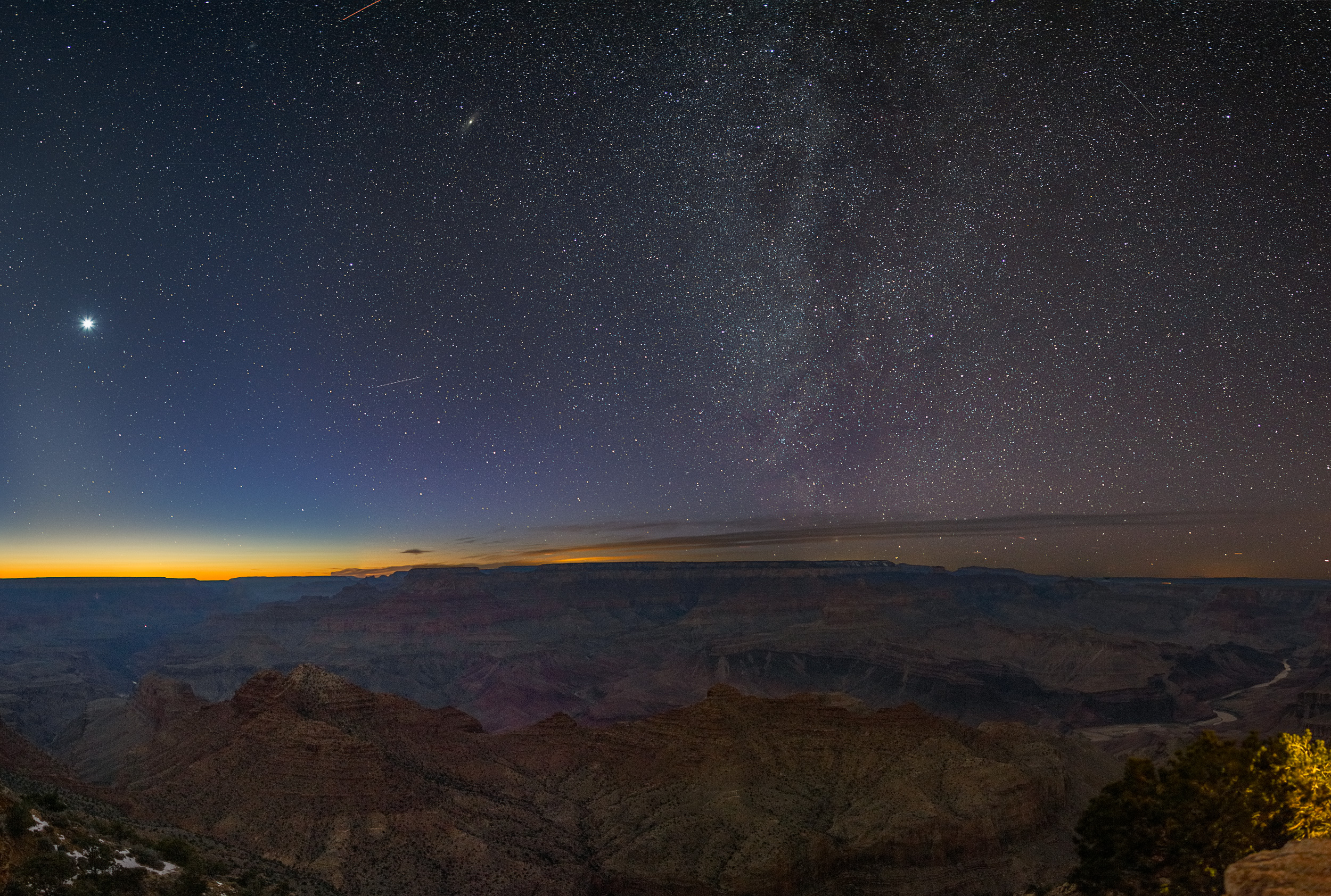 The winter Milky Way from Desert View, Grand Canyon. Look close and you can see Andromeda in the top center.