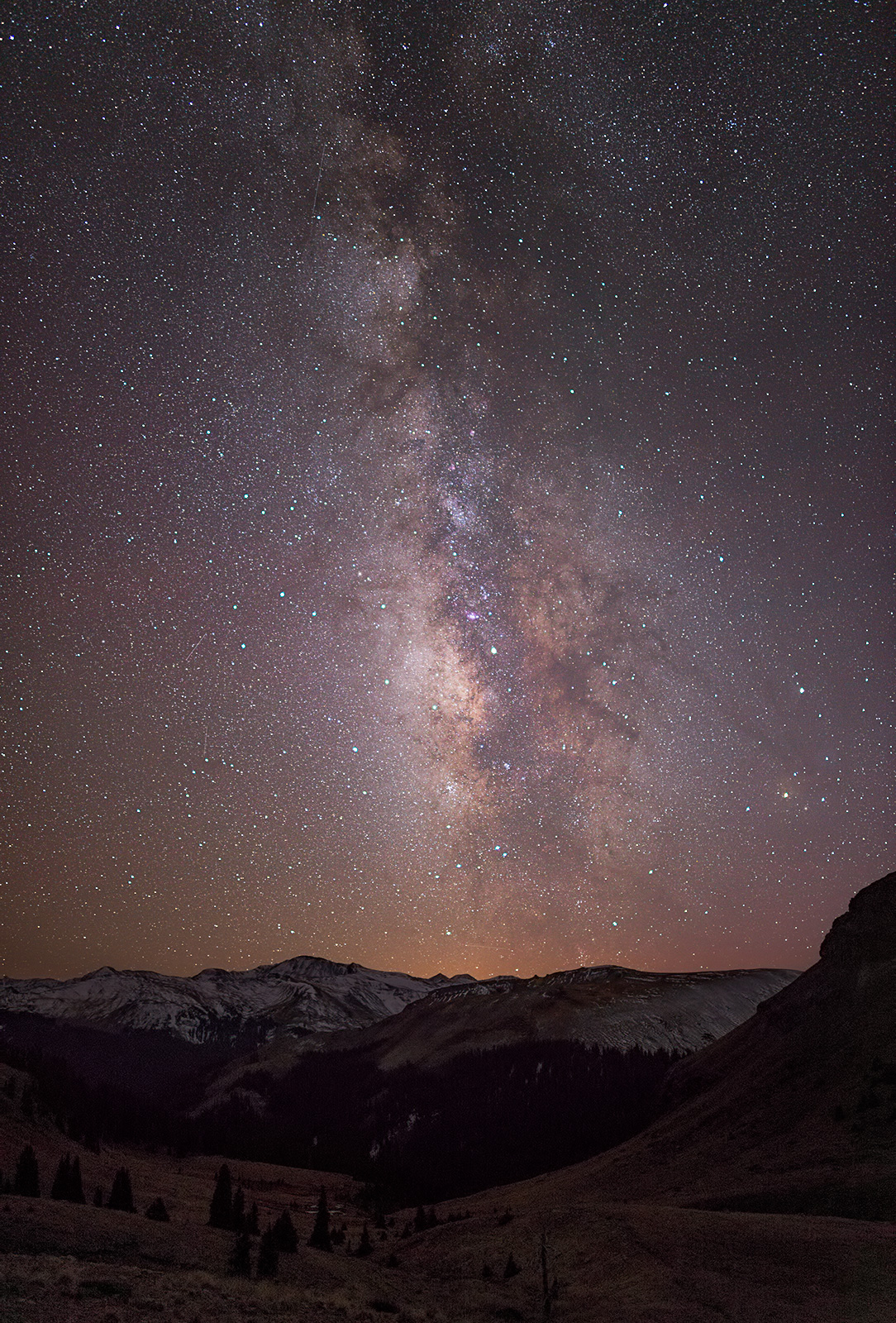 The Milky Way above the Wetterhorn Basin, in the San Juan Mountains.
