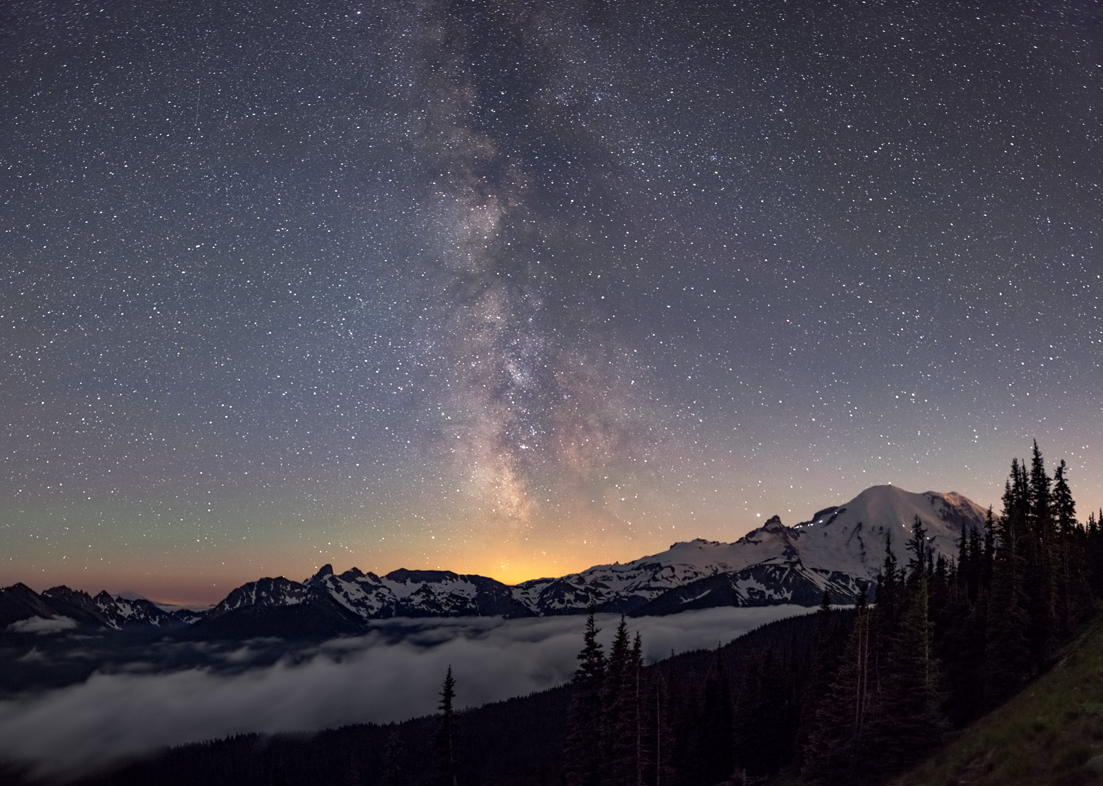 The Milky Way from Mount Rainier National Park. Took this a good hour after the moon set. The  large bank of clouds  just below Rainier started to dissipate a little.