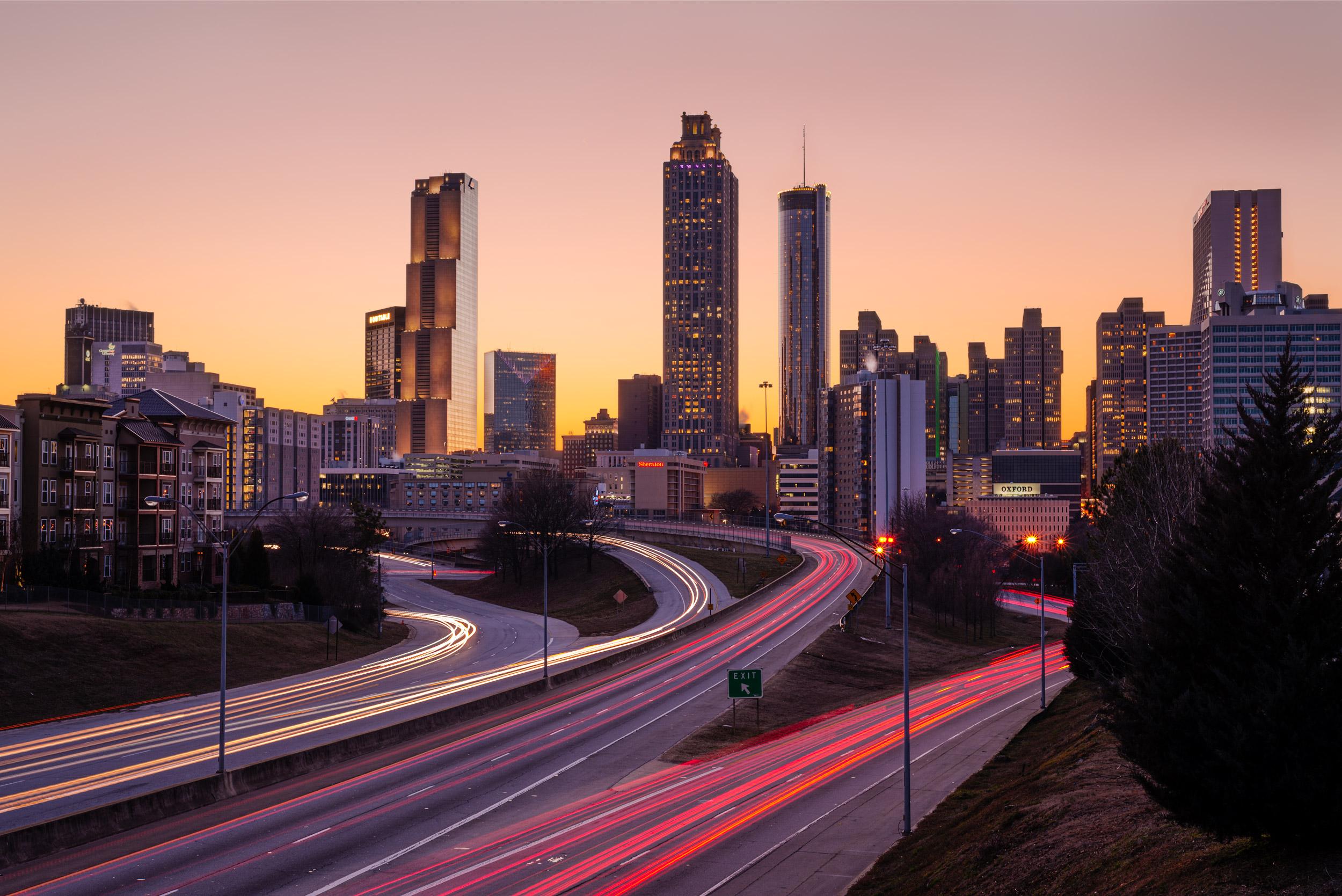 Atlanta Downtown Skyline - Taken at Jackson Street Bridge on a frigid day (for Atlanta).