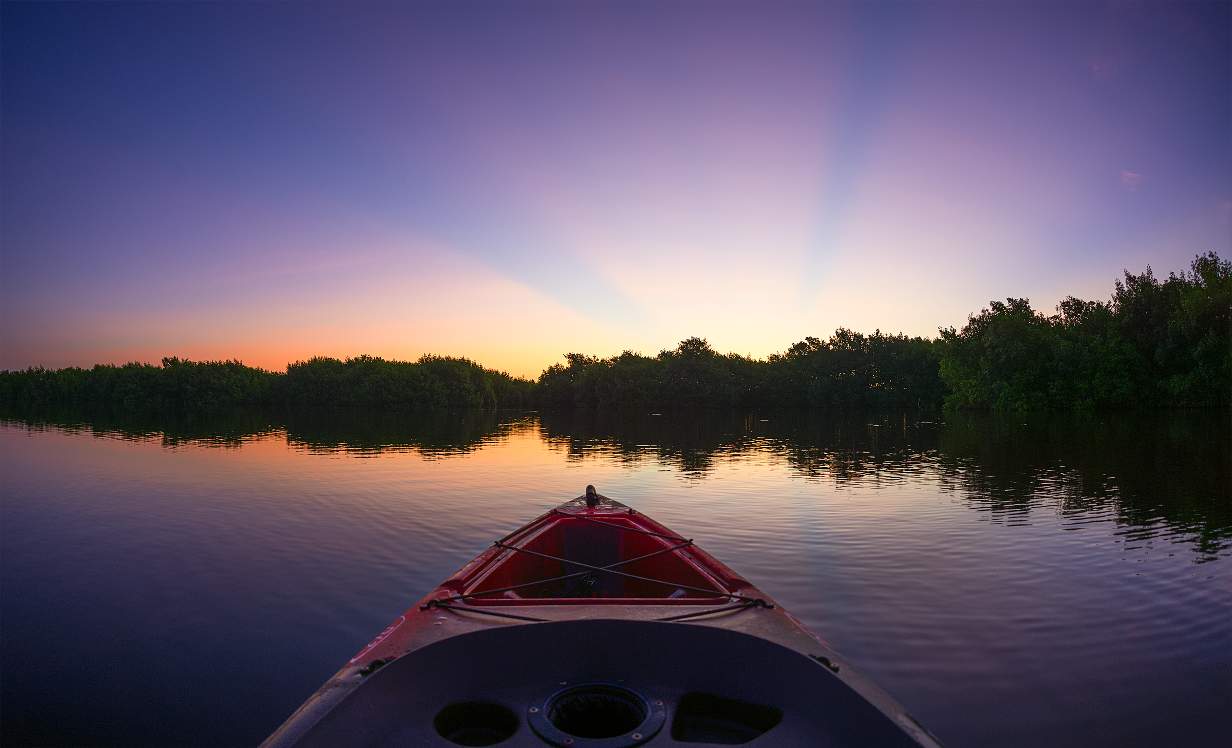 Magenta Moment - Kayak Sunrise -Taking in the sunrise at Fakahatchee Strand Preserve State Park, in the Everglades National Park.