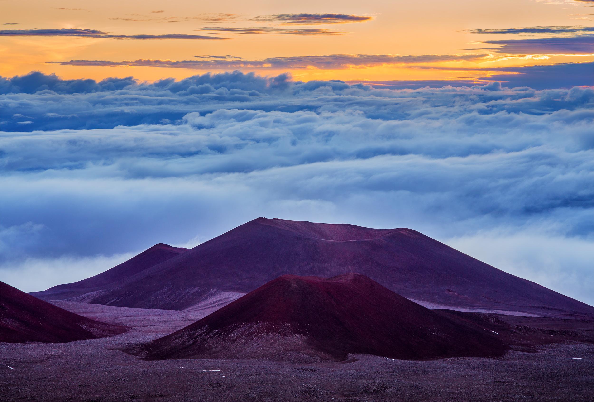 Mauna Kea Volcano Sunrise -Close to 14000 ft, on top of Mauna Kea, a dormant volcano, at the roof of Hawaii.