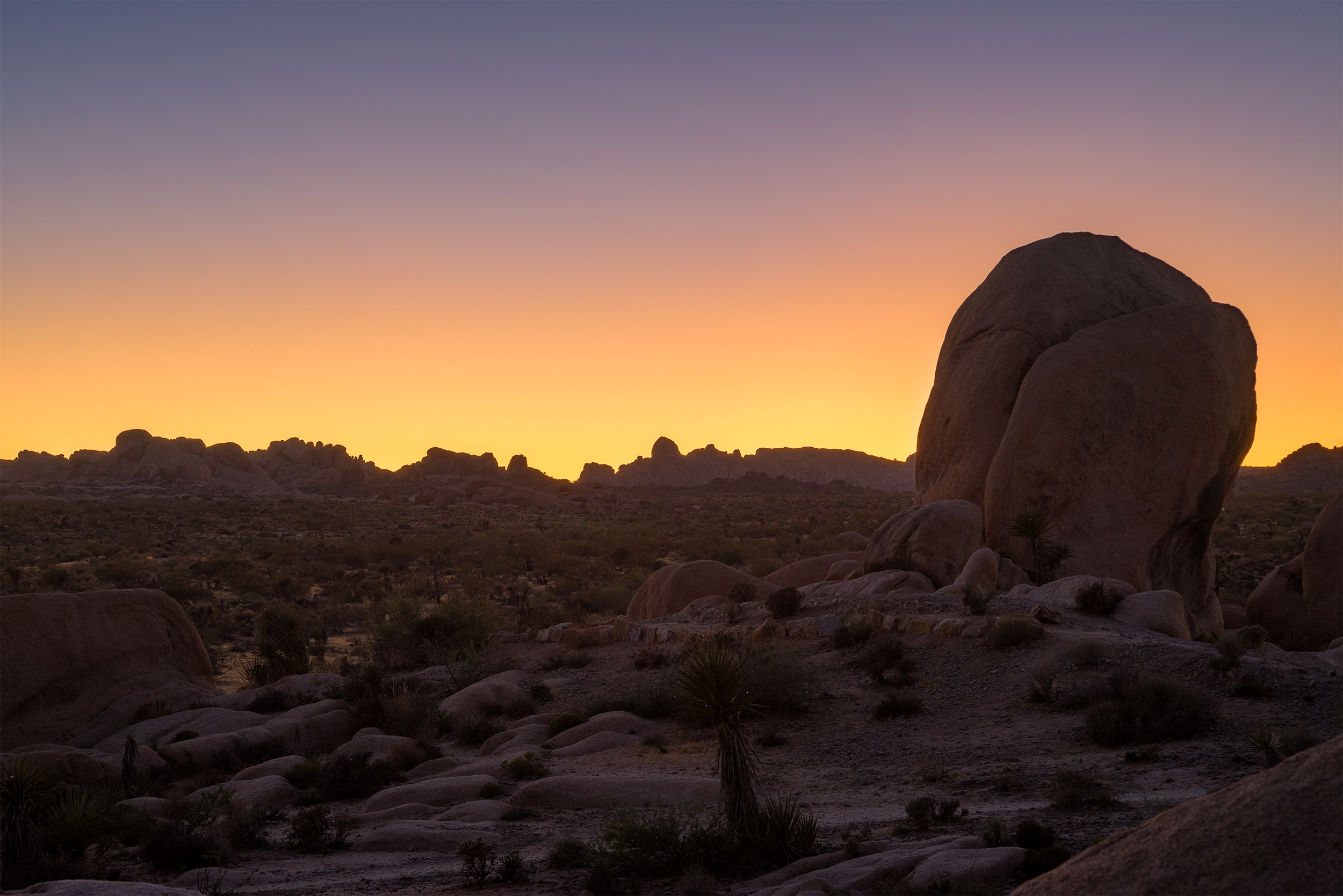 After sunset, looking beyond White Tank Campground.