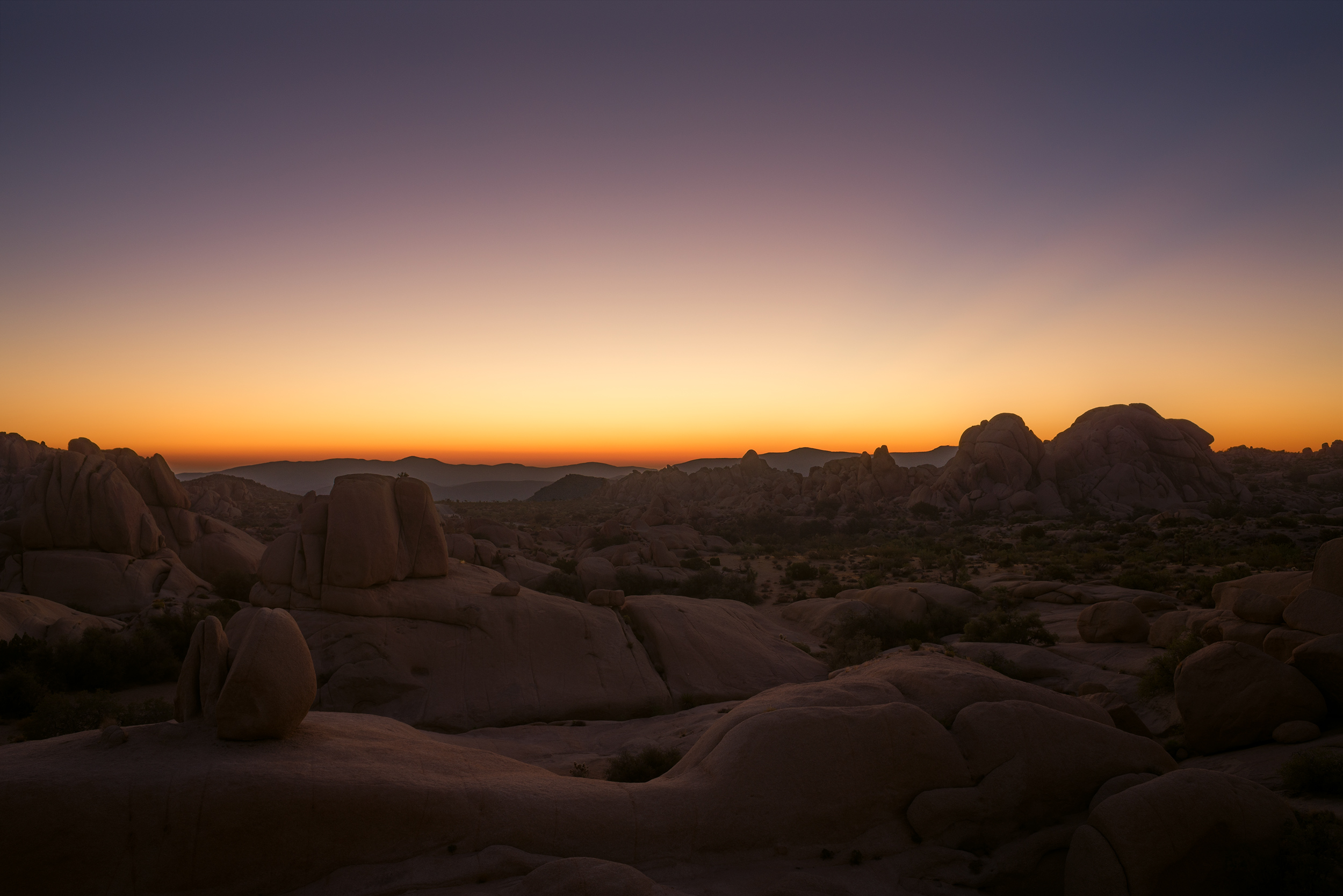 Just before sunrise at Jumbo Rocks Area.